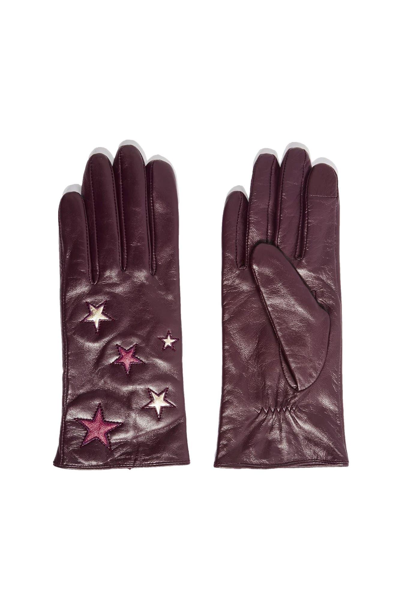 Topshop Metallic Star Leather Gloves