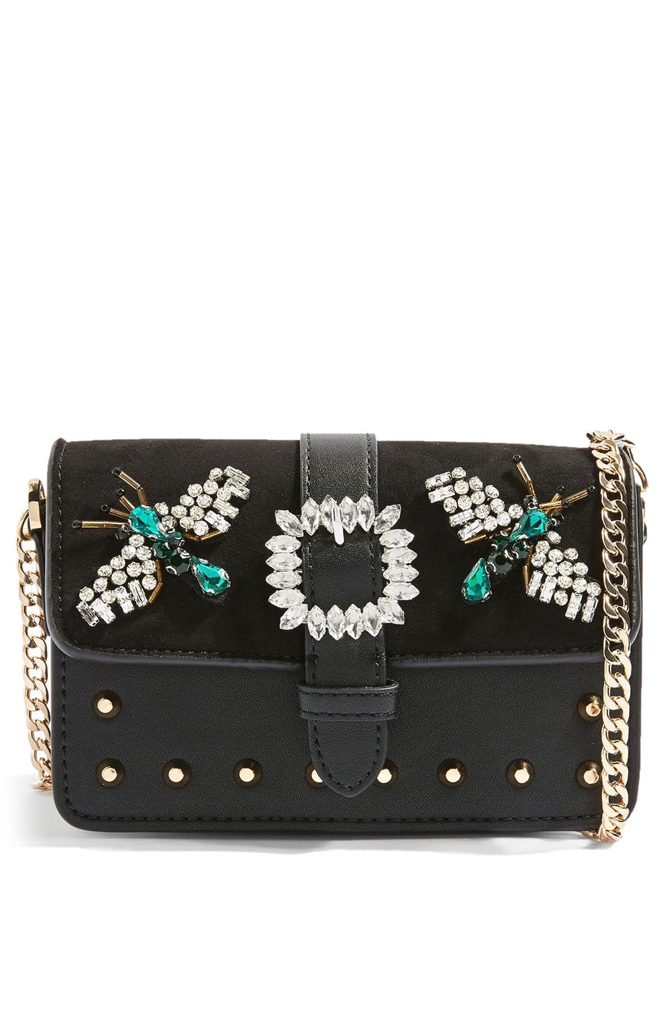 Topshop Rosie Jewel Embellished Faux Leather Crossbody Bag
