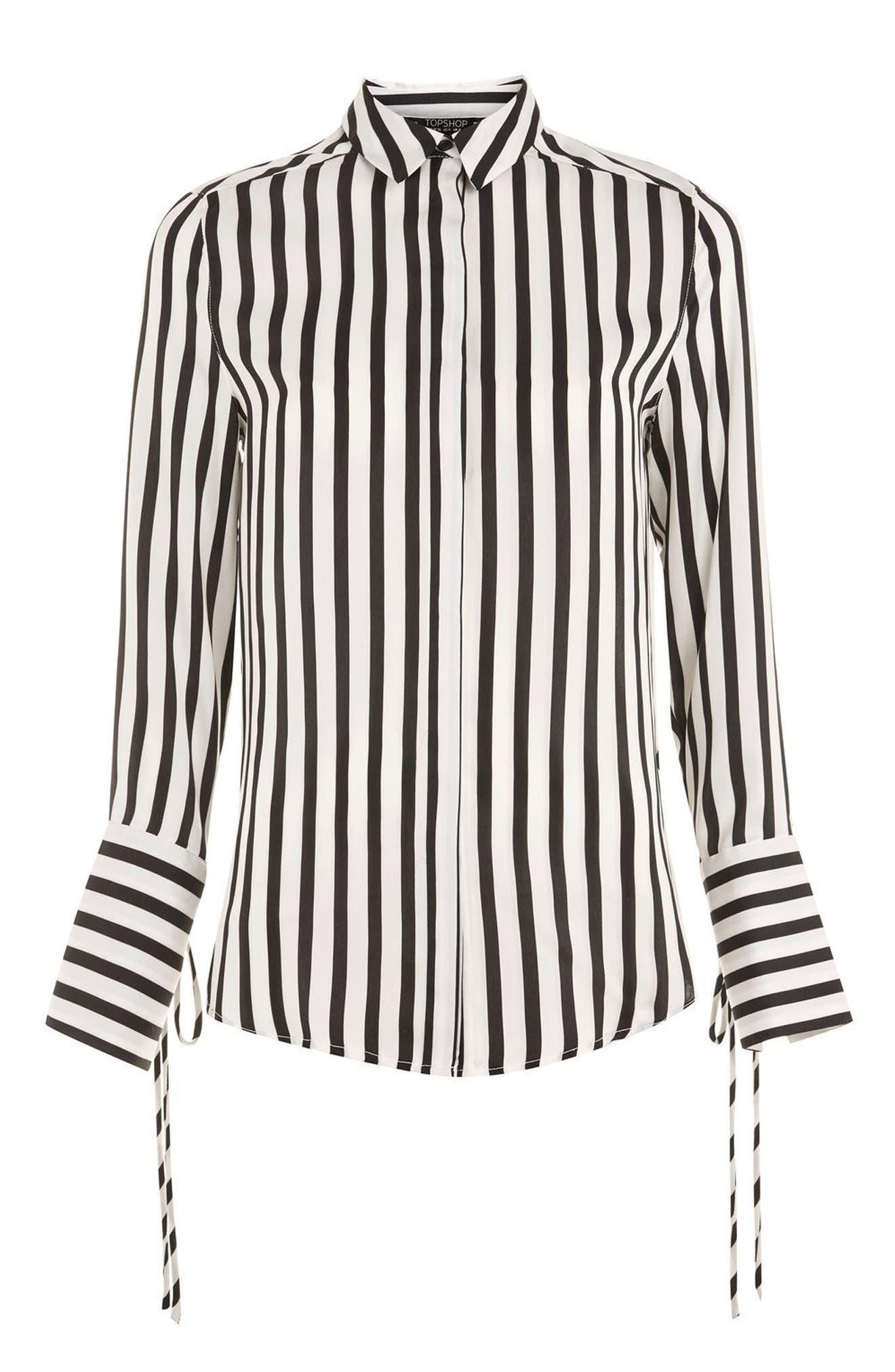 Alternate Image 5  - Topshop Tie Cuff Stripe Shirt