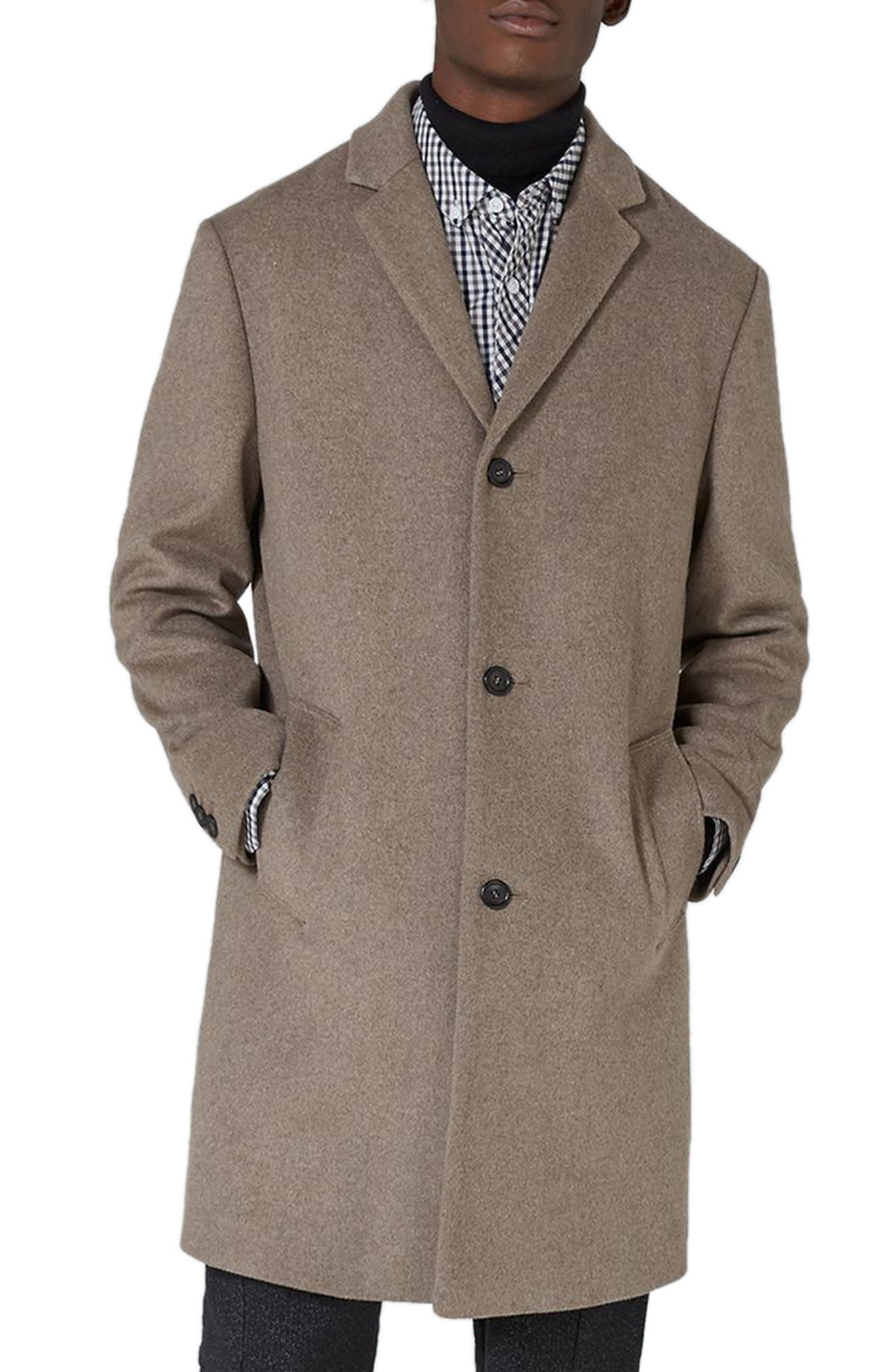 Classic Fit Overcoat,                             Main thumbnail 1, color,                             Brown