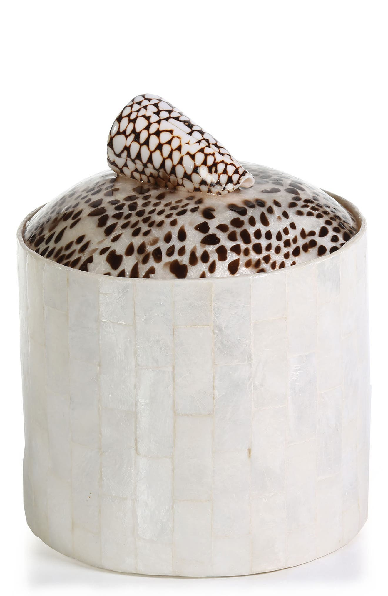 Capiz Shell Ice Bucket,                             Main thumbnail 1, color,                             Off-White/ Brown