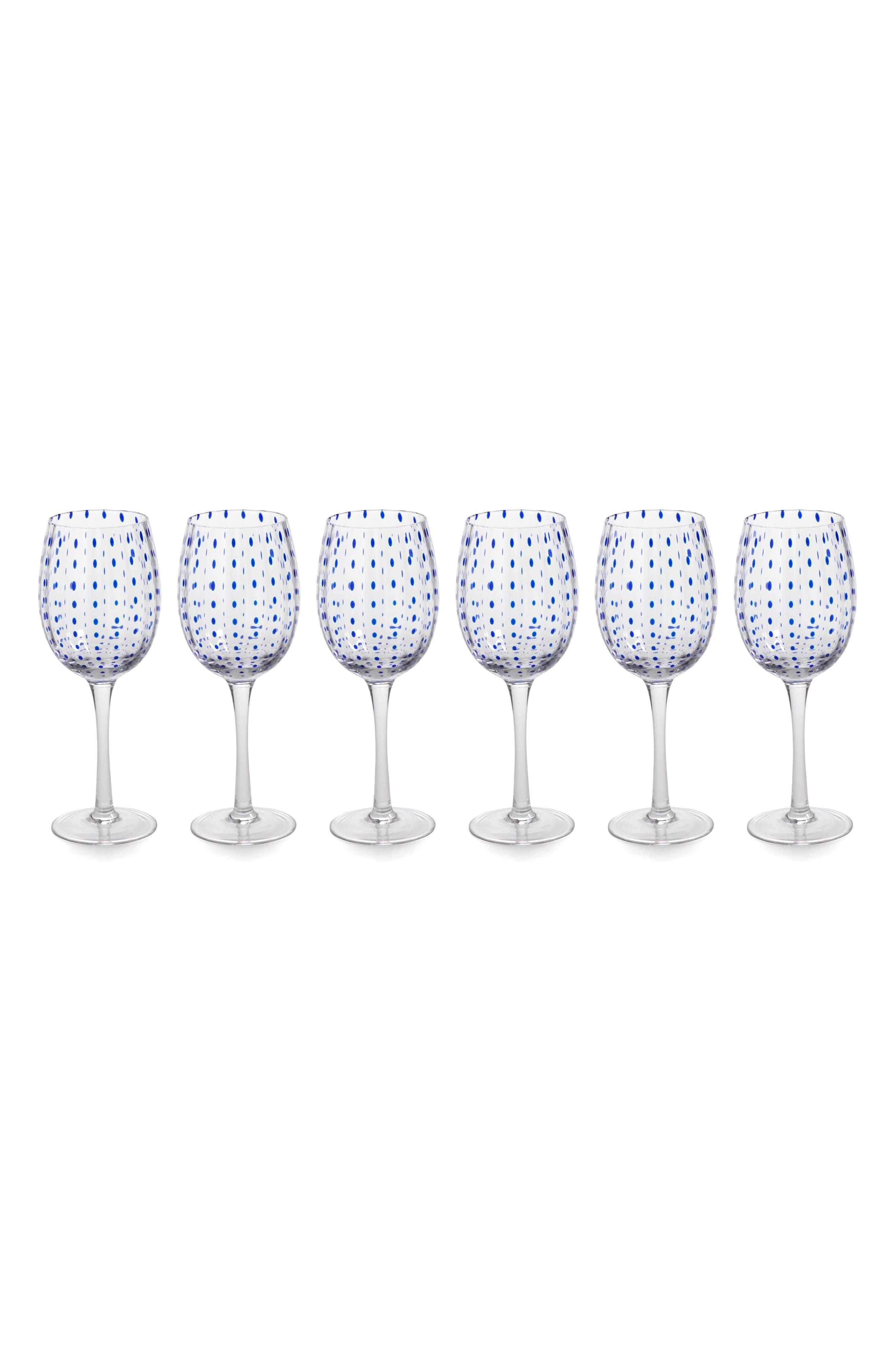 Mavi Set of 6 Wine Glasses,                         Main,                         color, Blue