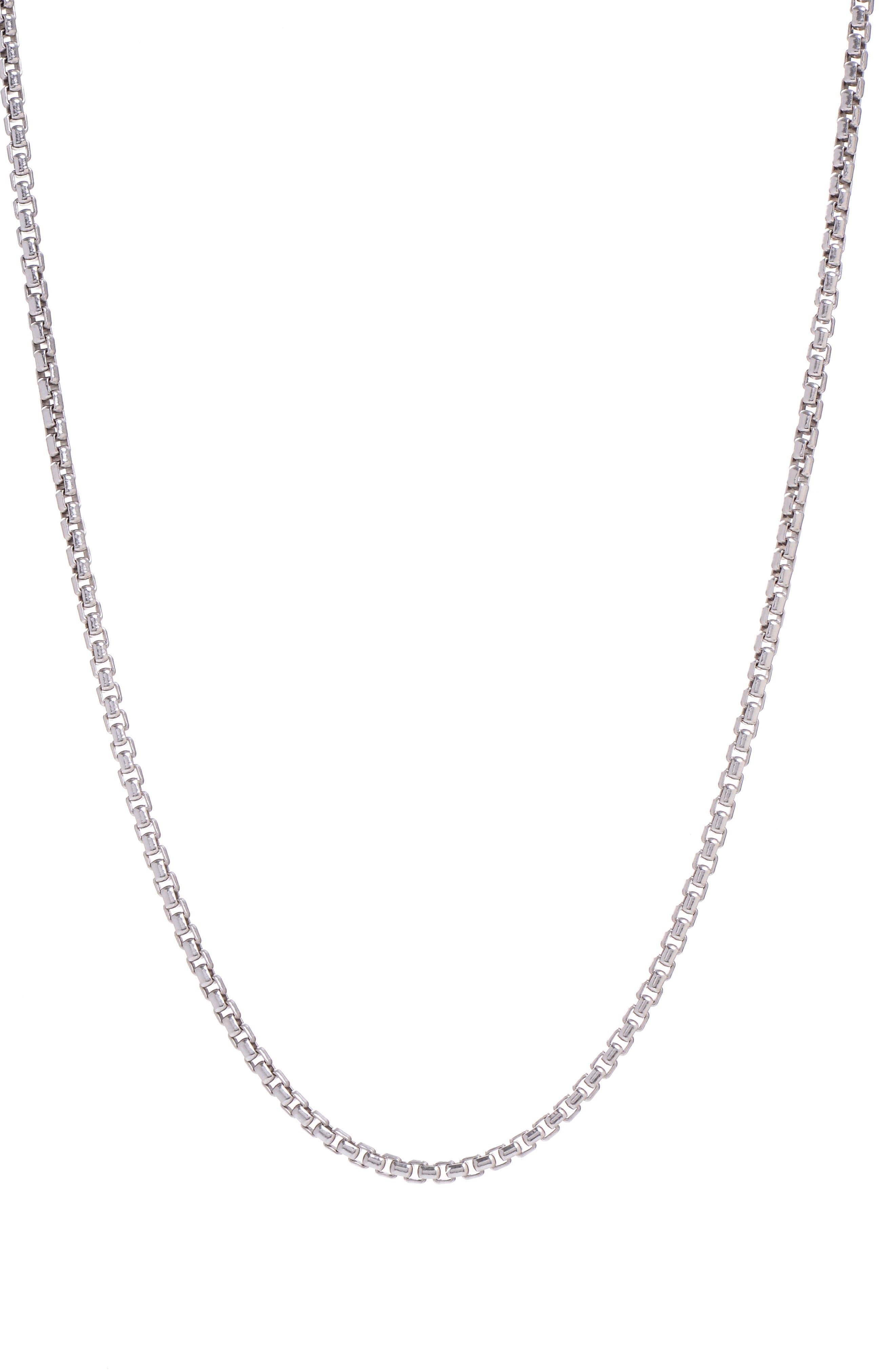 Box Chain Necklace,                         Main,                         color, Silver