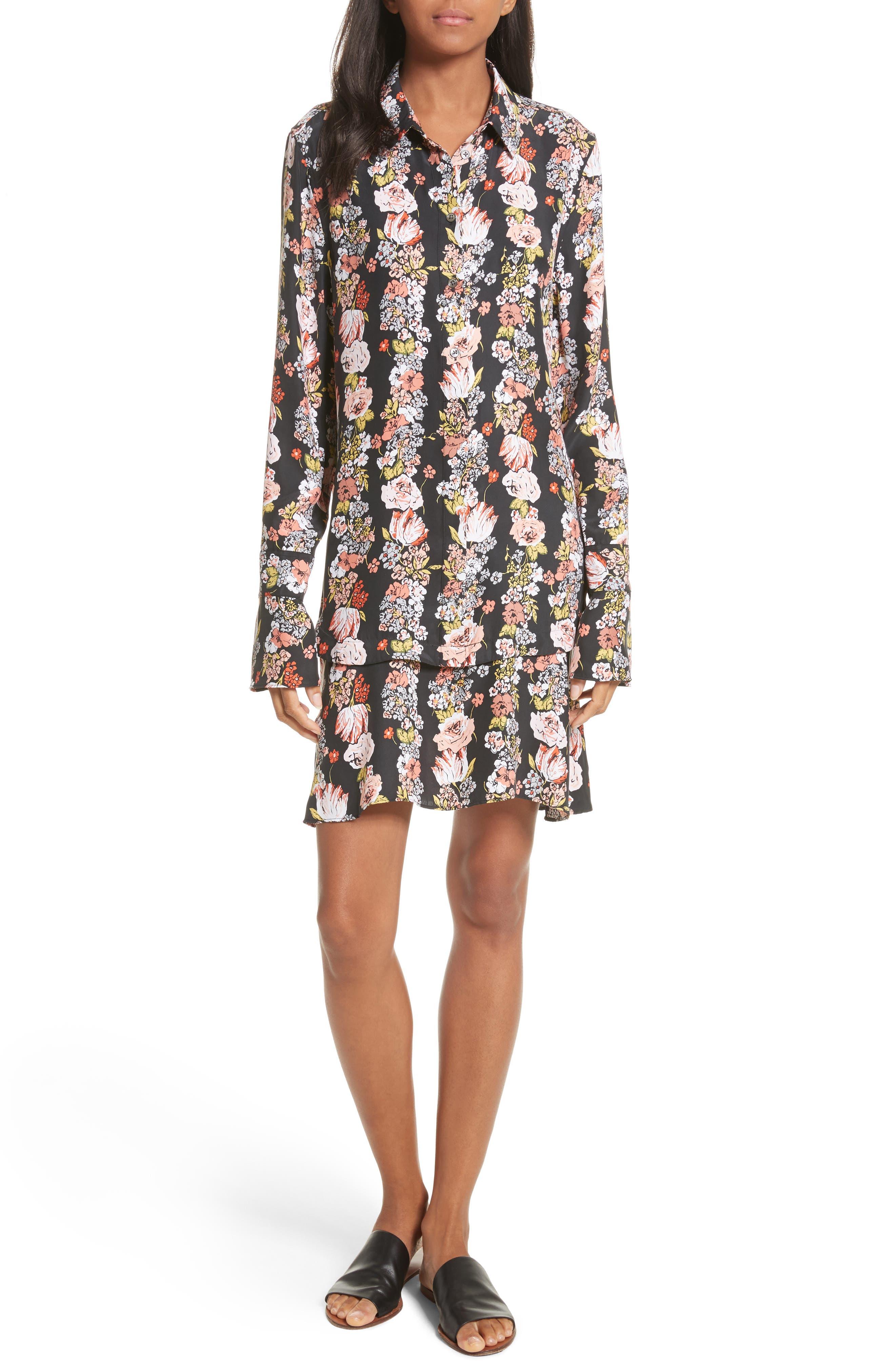 Daphne Silk Shirtdress,                             Main thumbnail 1, color,                             True Black Multi
