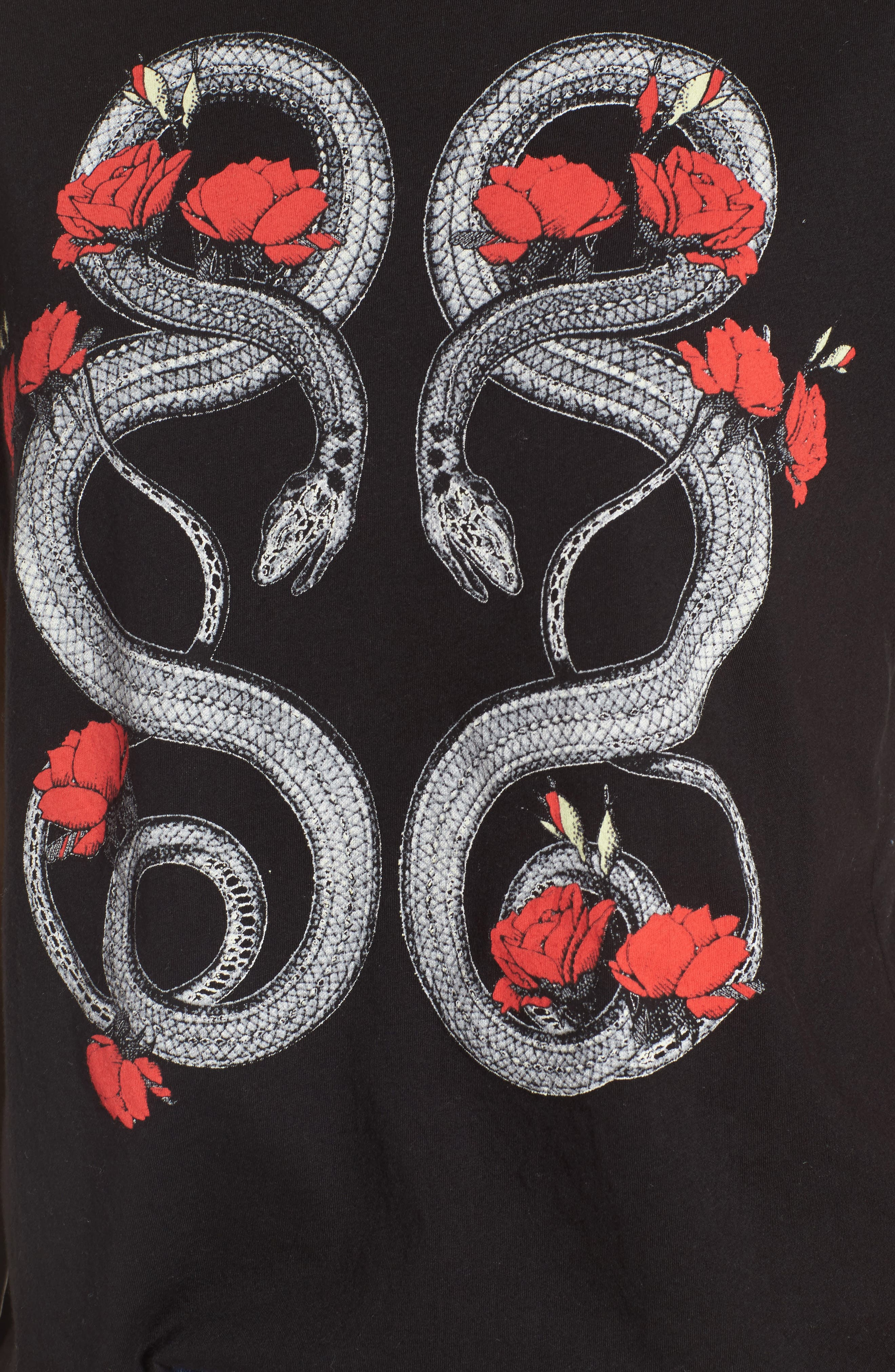 Red Snakes Tee,                             Alternate thumbnail 5, color,                             Clean Black
