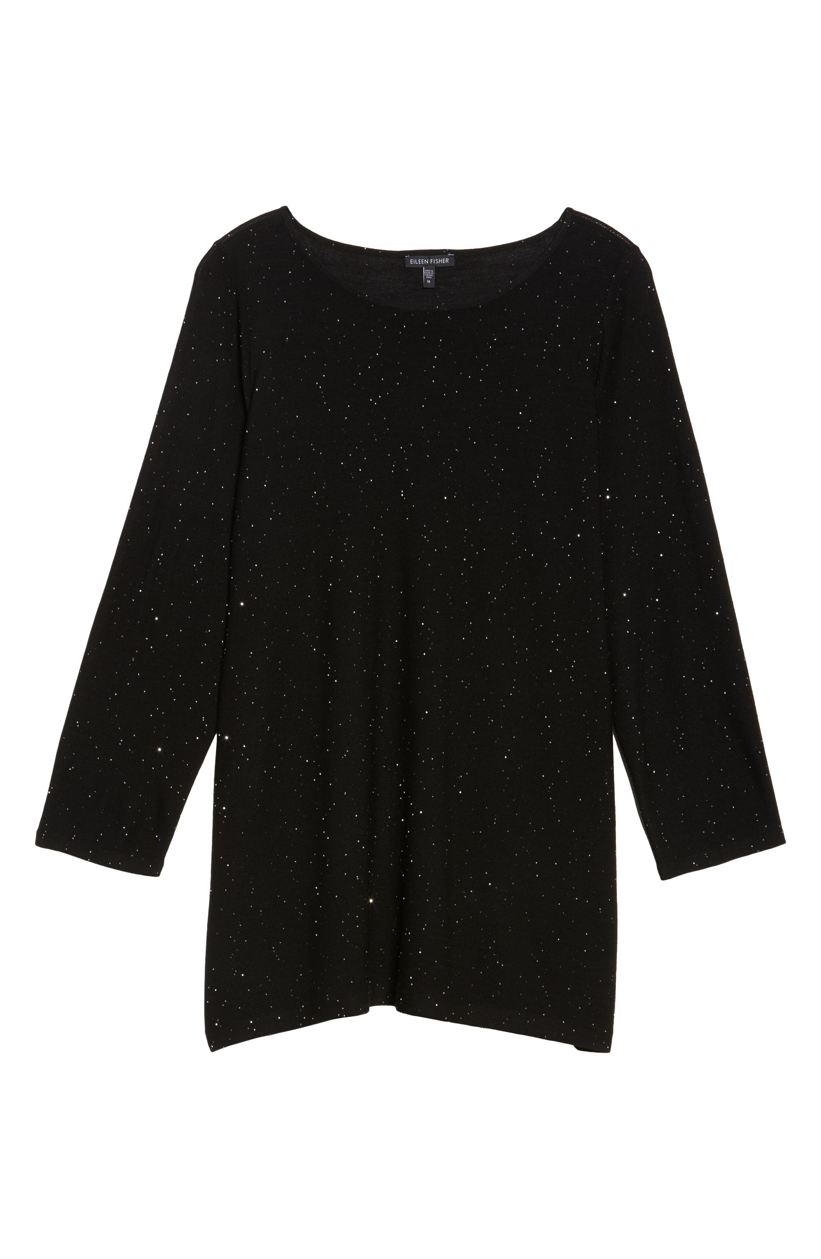 Sequin Merino Wool Tunic Sweater,                             Alternate thumbnail 6, color,                             Black