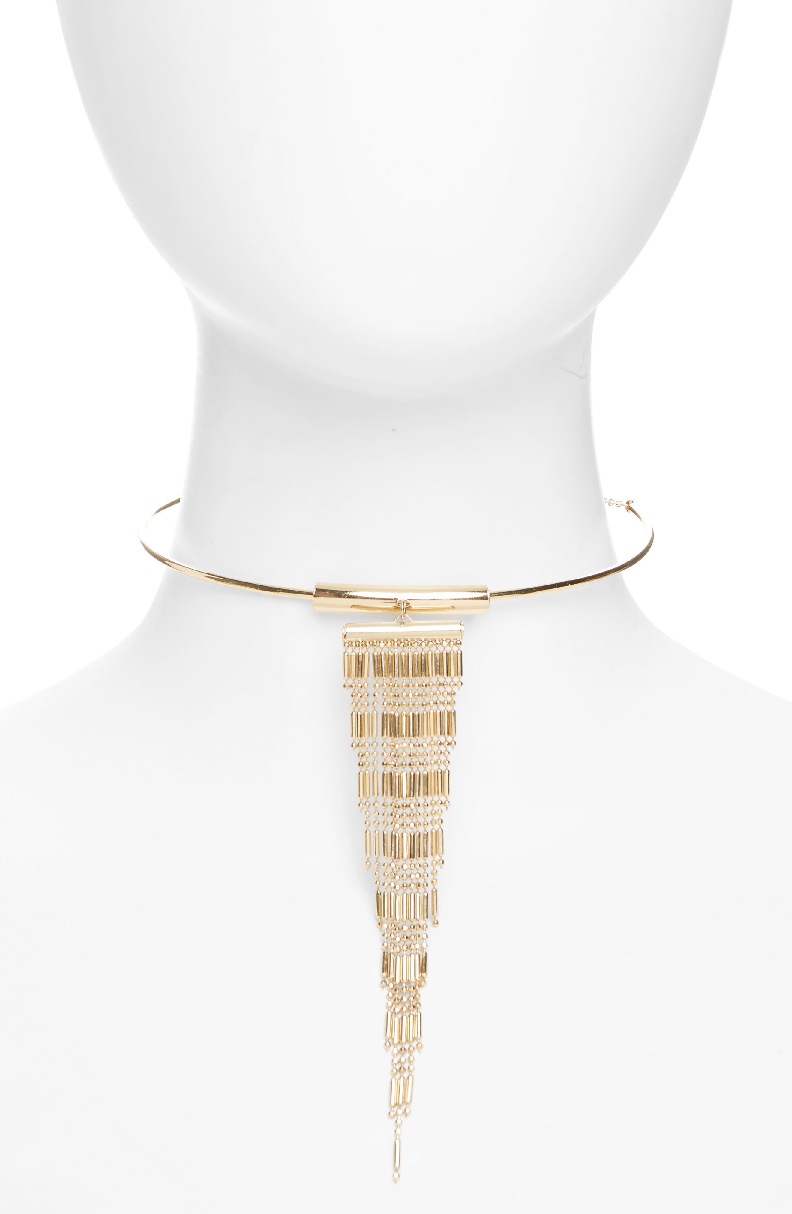 Topshop Tassel Torq Choker Necklace