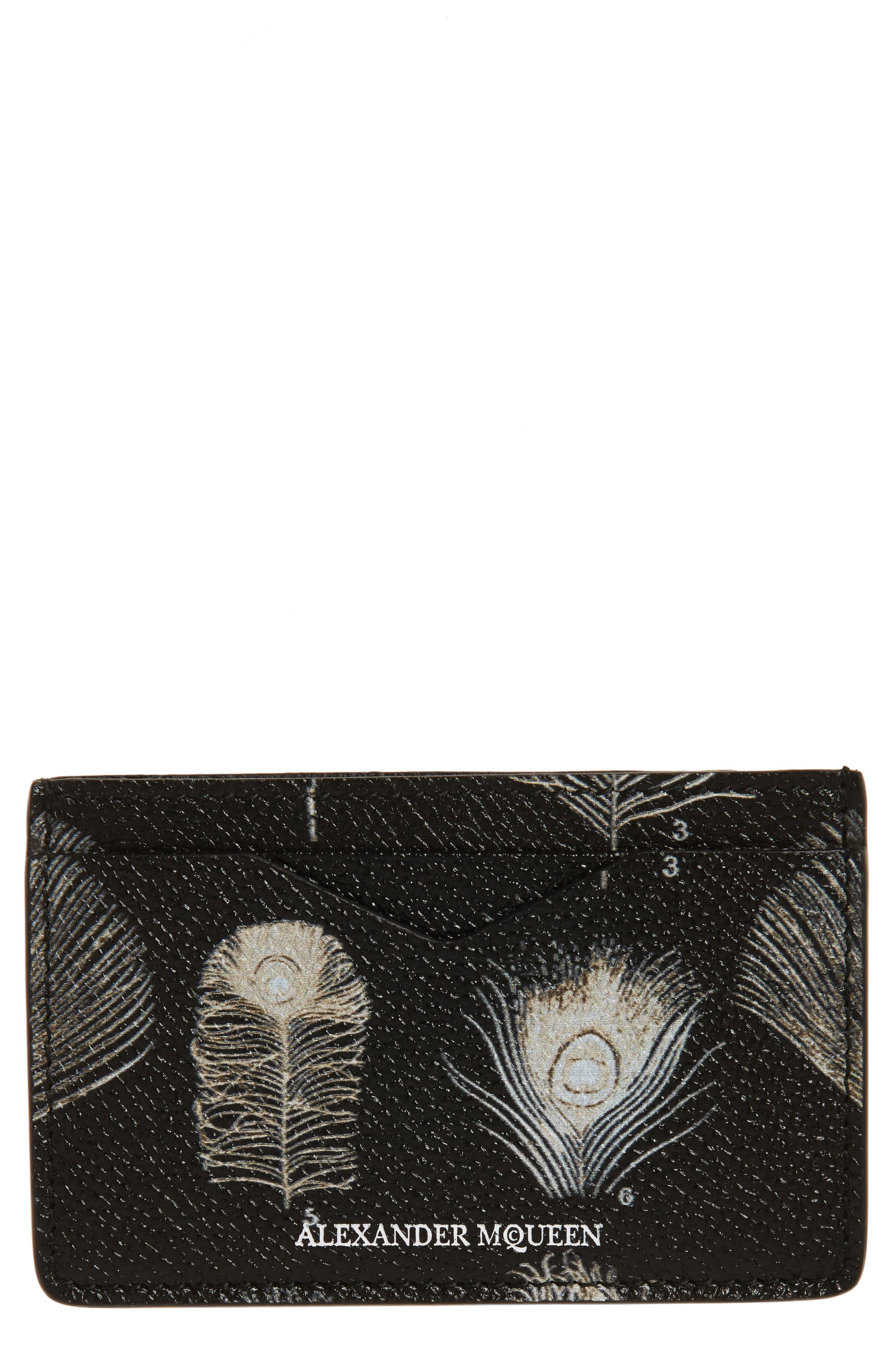 Peacock Feather Leather Card Case,                         Main,                         color, Black/ Off White