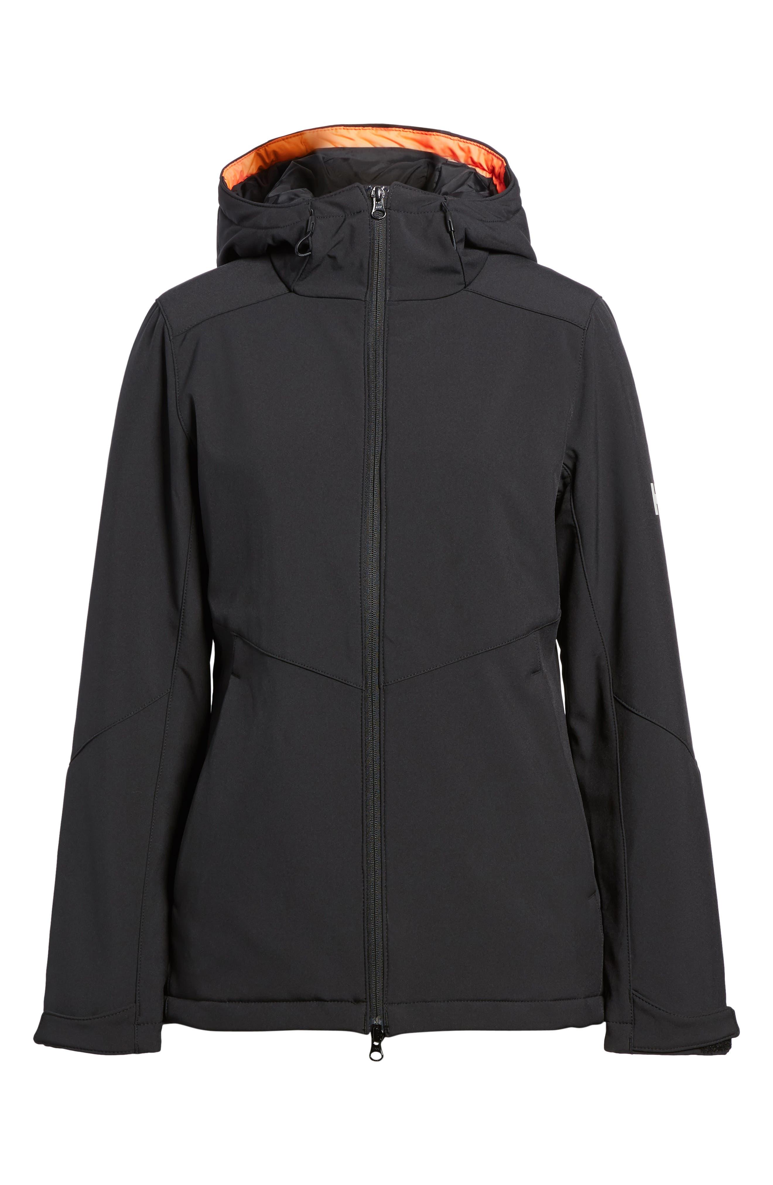 Lofn Hooded Insulated Soft Shell Jacket,                             Alternate thumbnail 6, color,                             Black