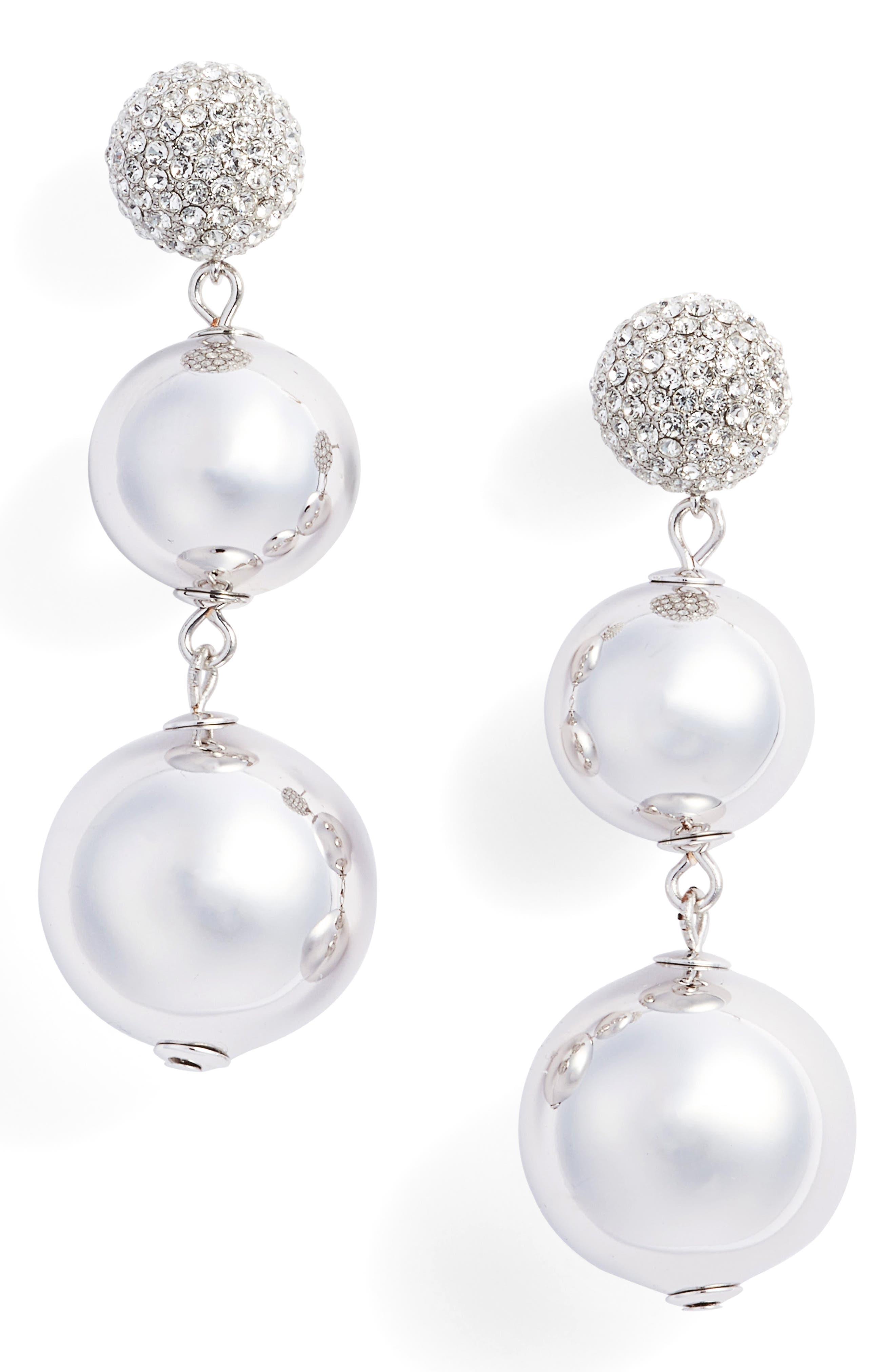 flying colors pavé bauble drop earrings,                             Main thumbnail 1, color,                             Silver