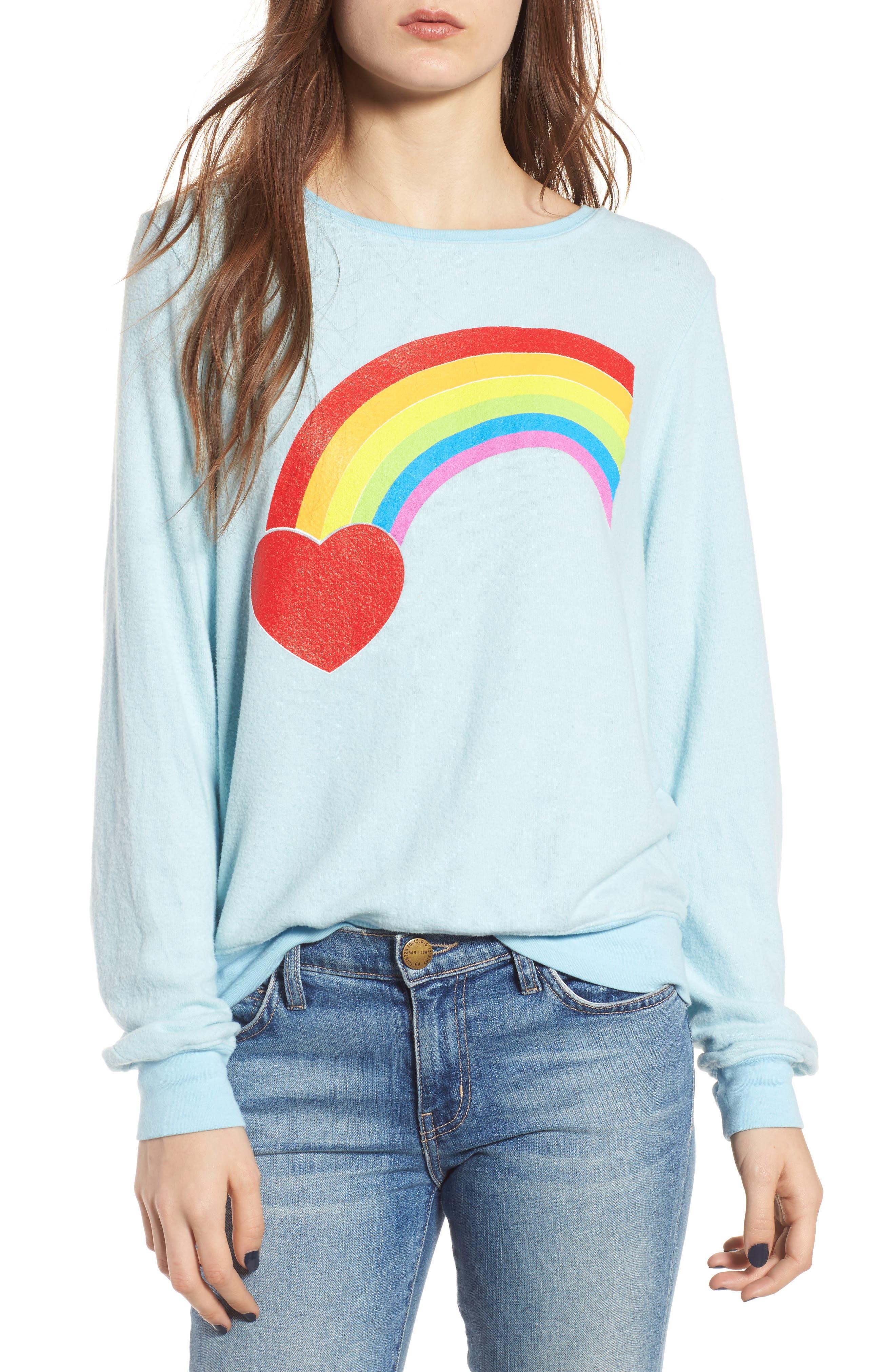 Rainbow Bright Sweatshirt,                             Main thumbnail 1, color,                             Honolulu Blue