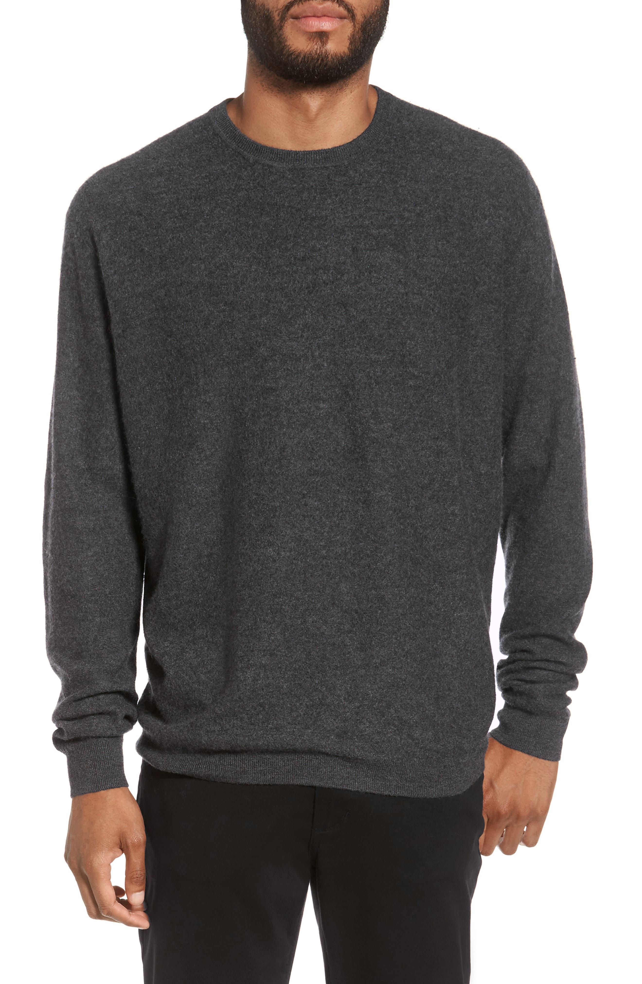 Cashmere Crewneck Sweater,                         Main,                         color, Heather Shadow