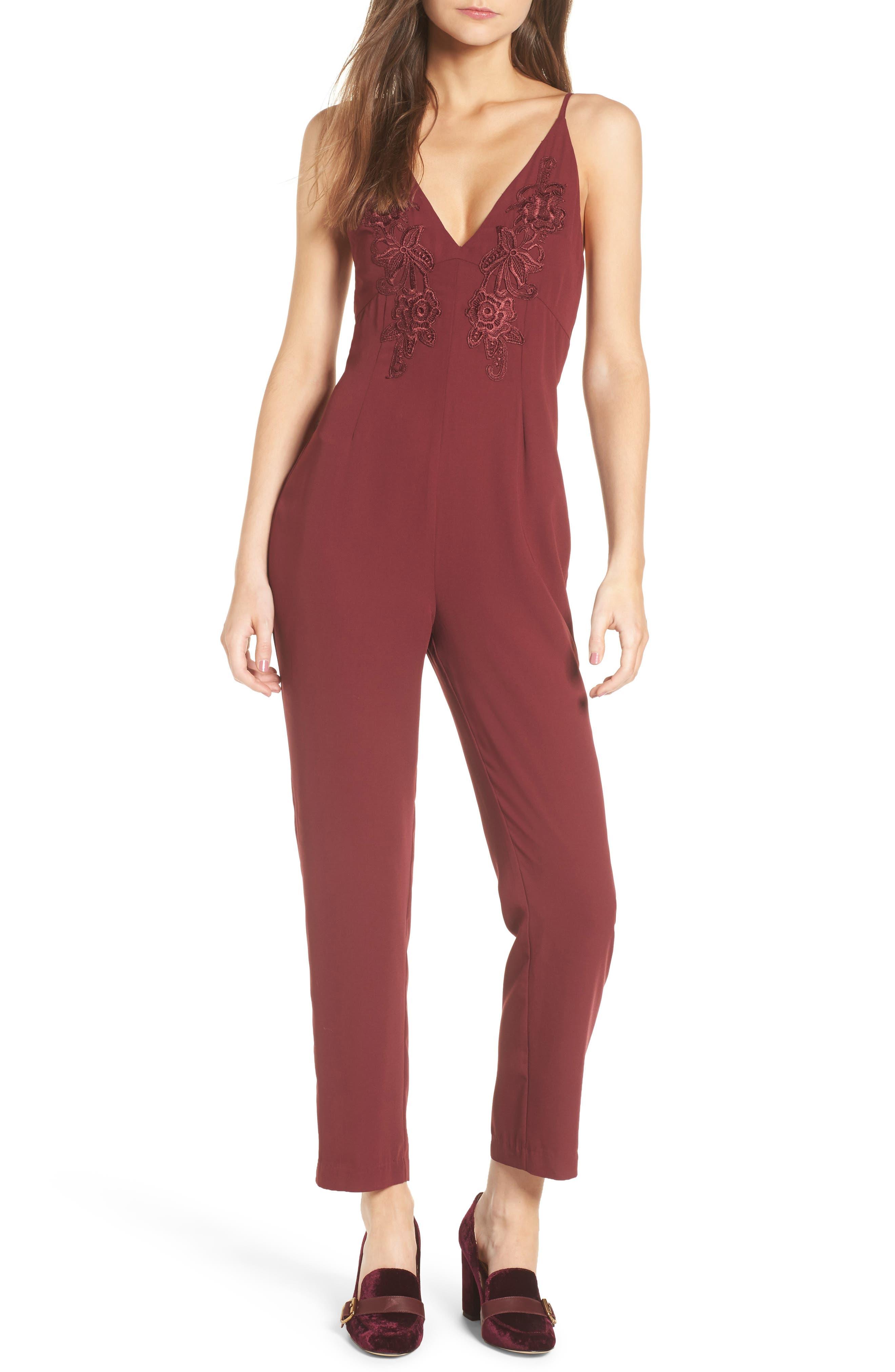 Appliqué Jumpsuit,                         Main,                         color, Red Tannin