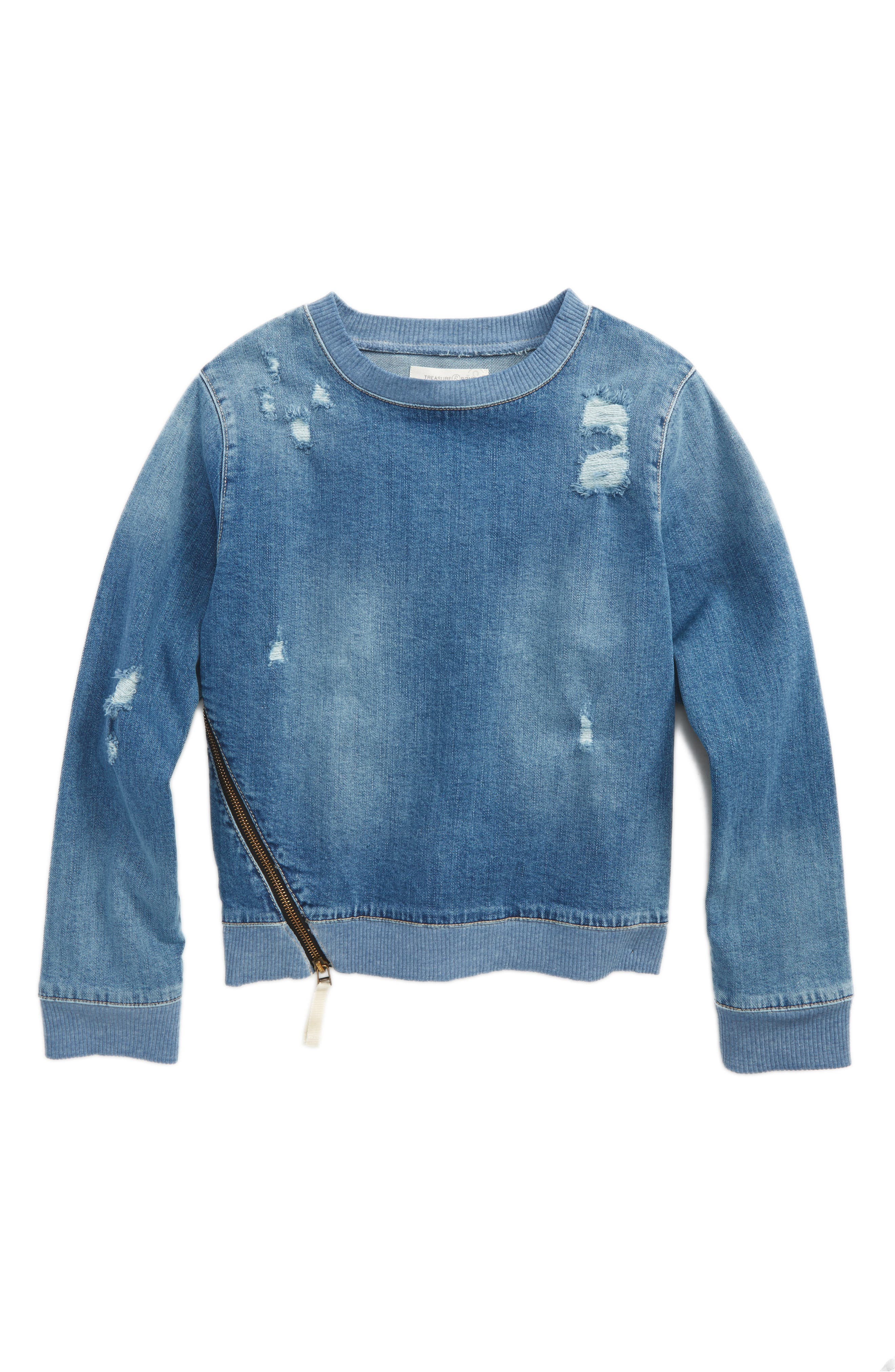 Main Image - Treasure & Bond Denim Sweatshirt (Big Girls)