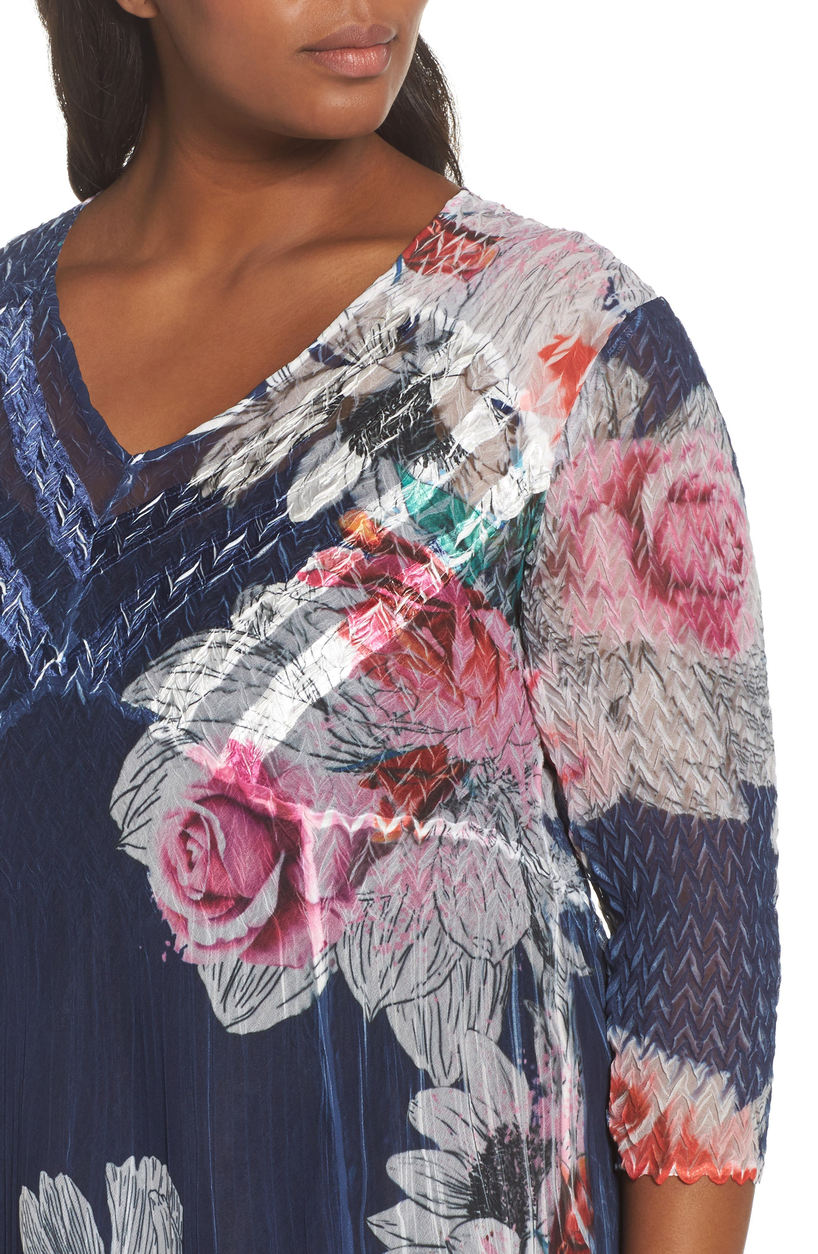 V-Neck Floral Print Chiffon Dress,                             Alternate thumbnail 4, color,                             Watercolor Fields