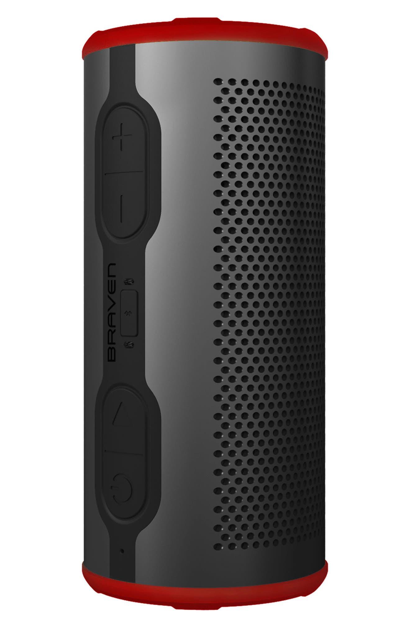 Stryde 360 Sound Waterproof Bluetooth Speaker,                             Alternate thumbnail 3, color,                             Grey/ Red