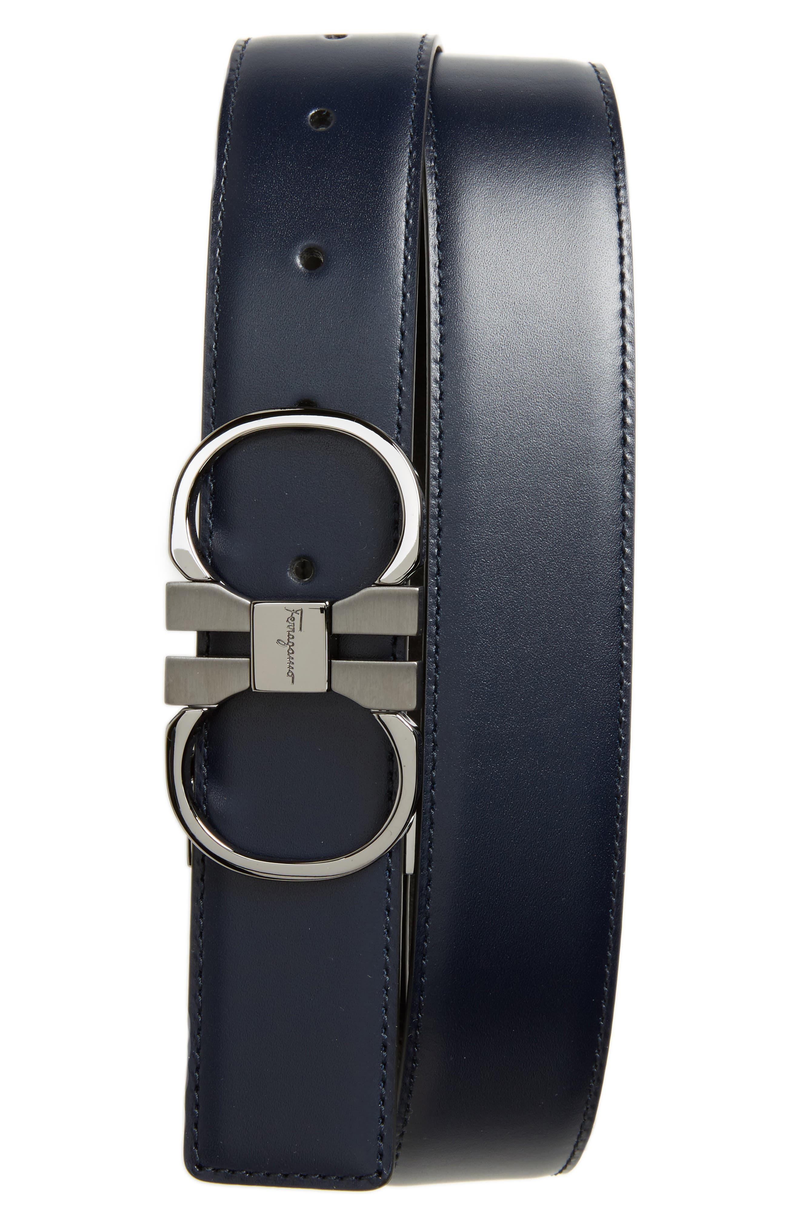 Double Gancini Leather Dress Belt,                         Main,                         color, Blue Marine/ Black