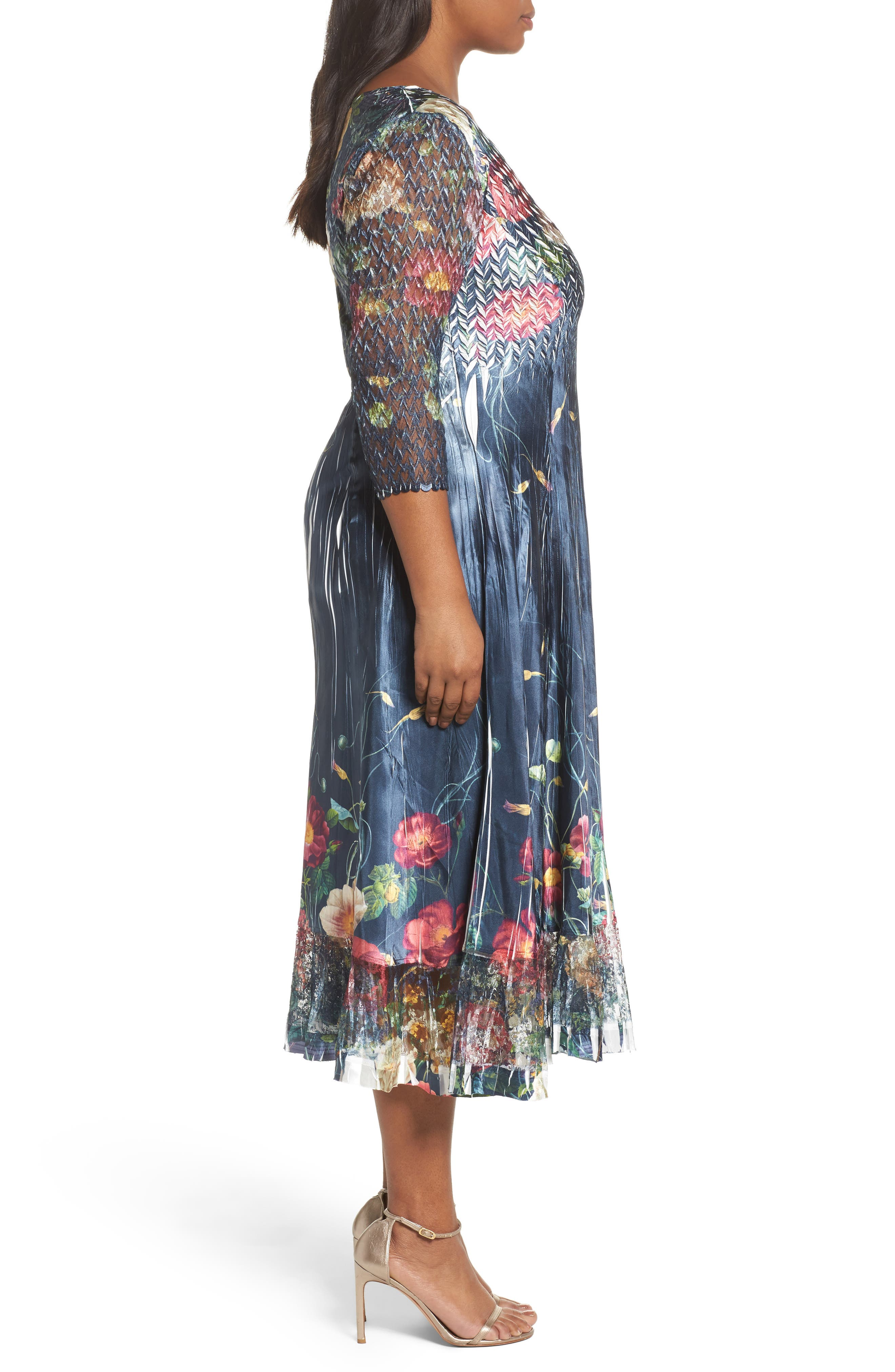 Floral V-Neck Charmeuse Midi Dress,                             Alternate thumbnail 3, color,                             Midnight Trellis