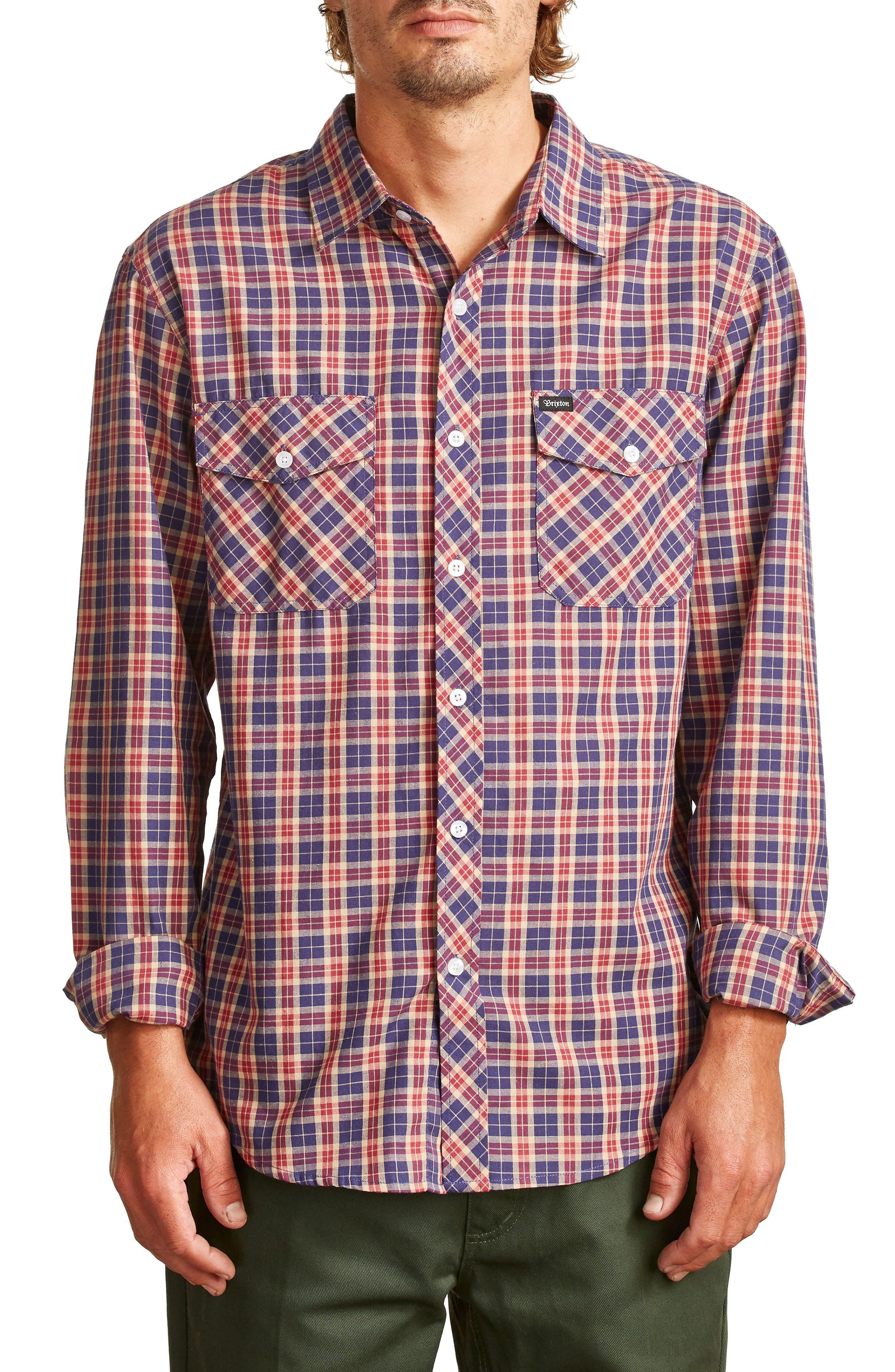 Memphis Woven Shirt,                         Main,                         color, Navy/ Khaki