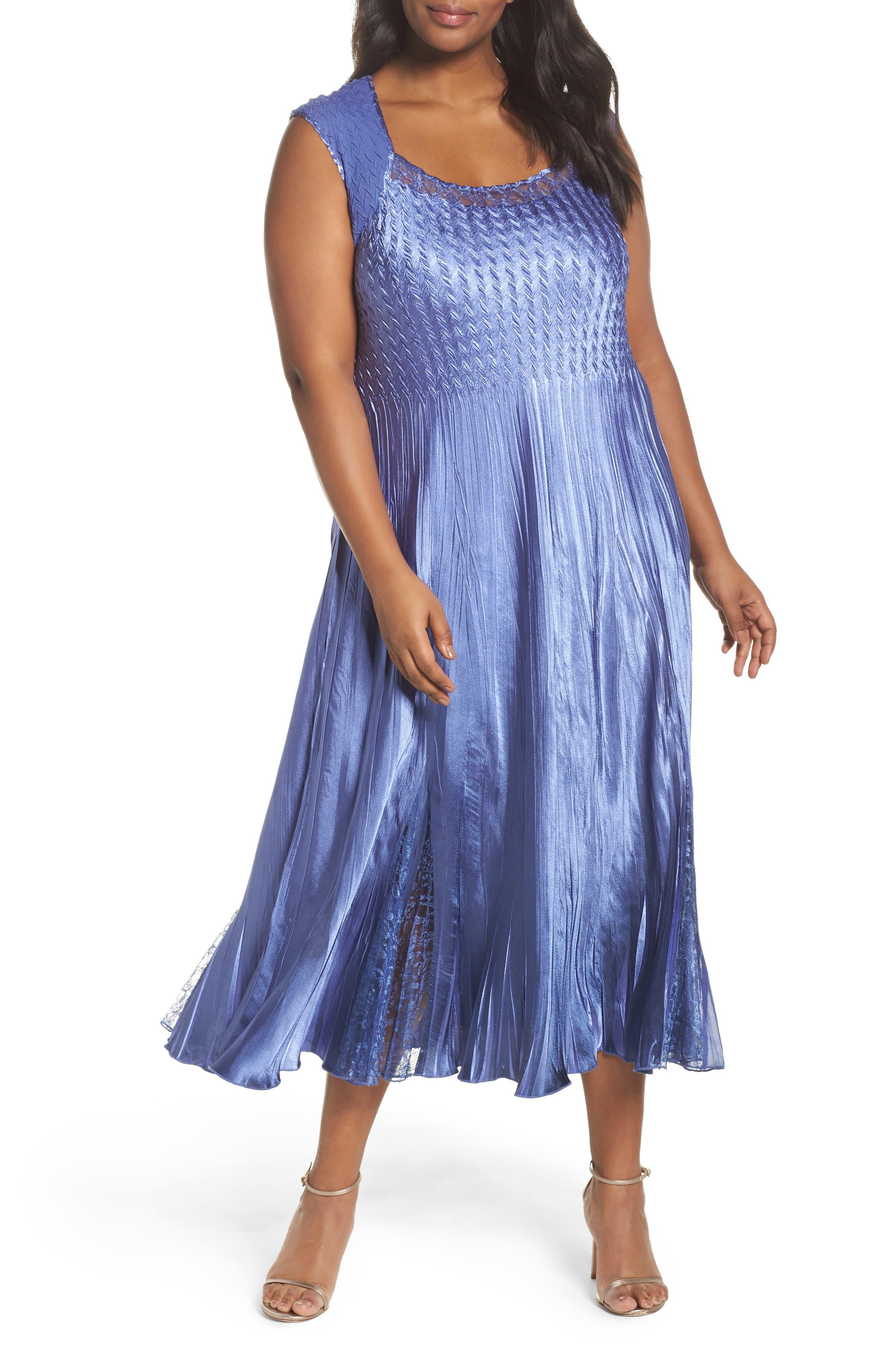 Main Image - Komarov Lace Inset Charmeuse Dress with Chiffon Jacket (Plus Size)