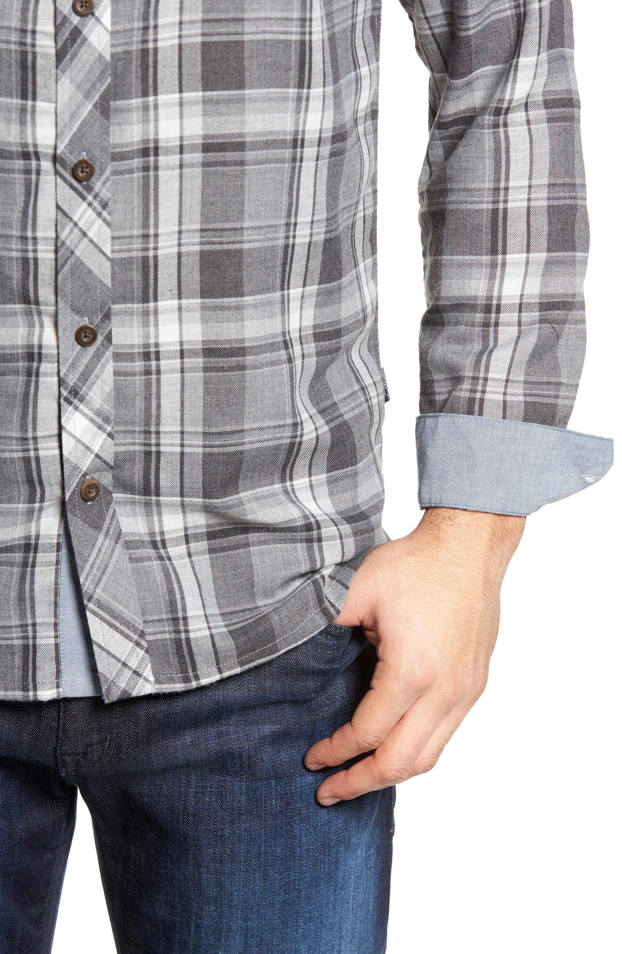 Shelter Plaid Sport Shirt,                             Alternate thumbnail 4, color,                             Grey