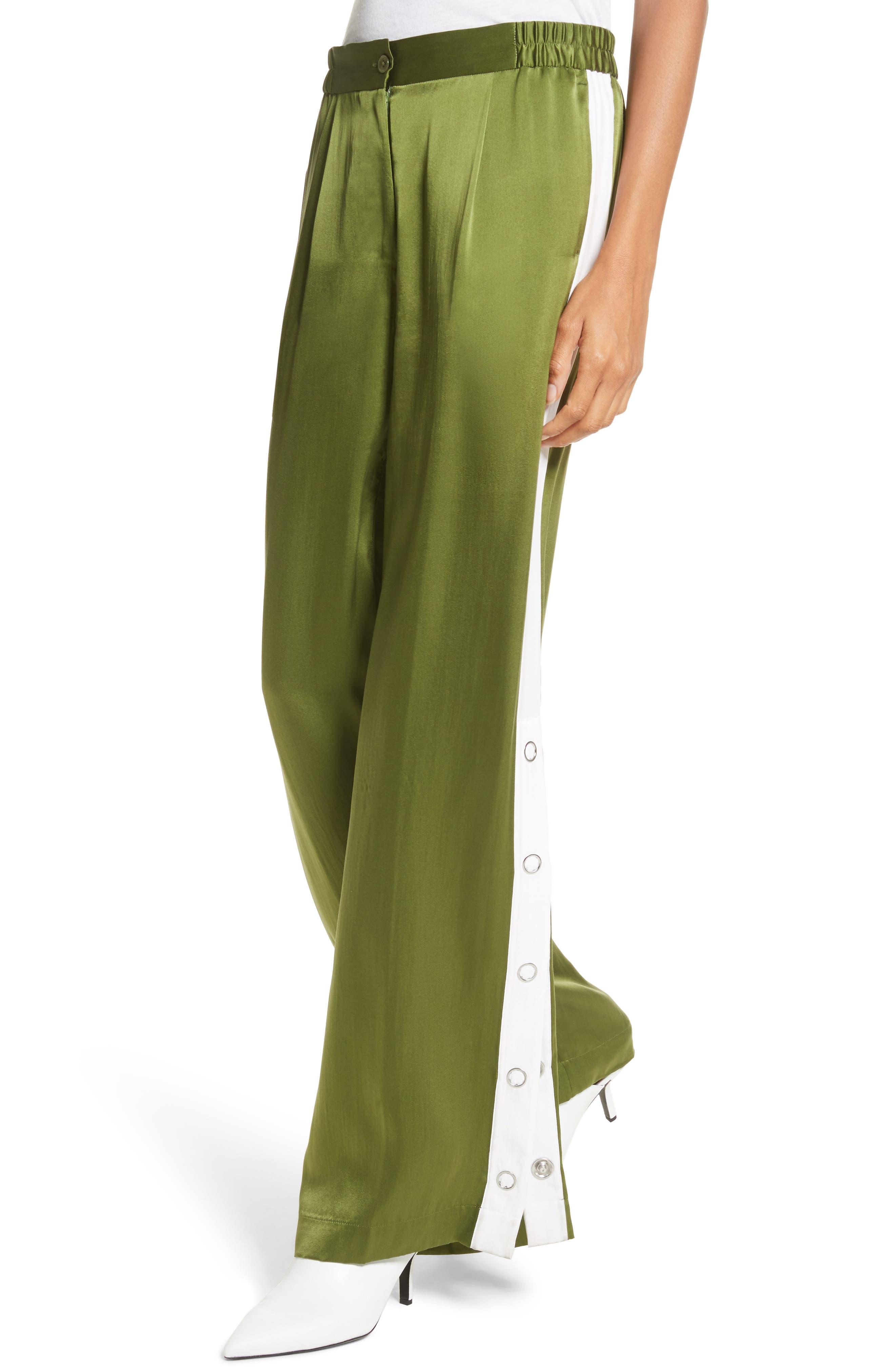 Arwen Wide Leg Silk Pants,                             Alternate thumbnail 4, color,                             Combat Green