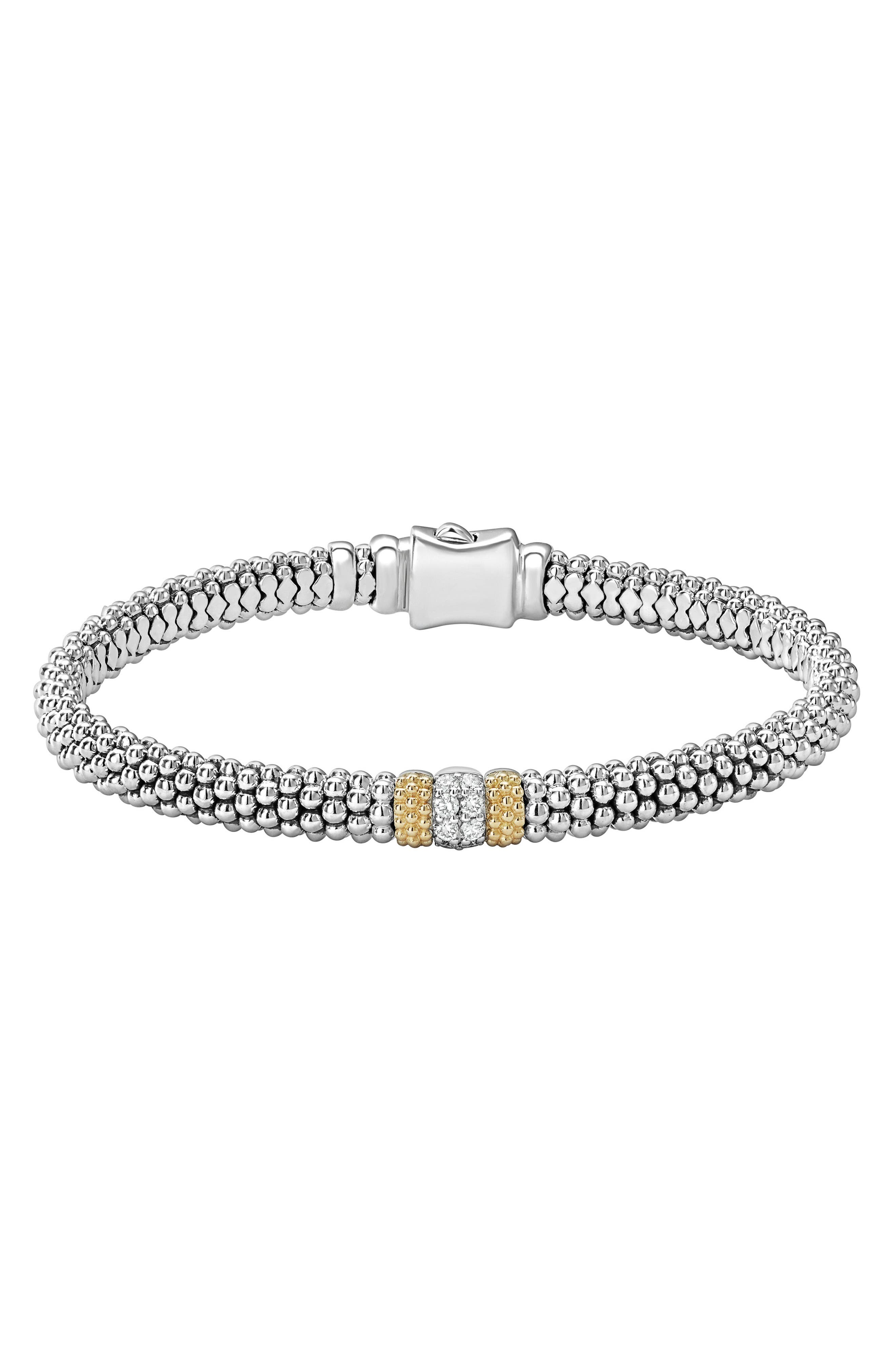 Diamond Lux Pavé Station 6mm Bracelet,                             Main thumbnail 1, color,                             Diamond
