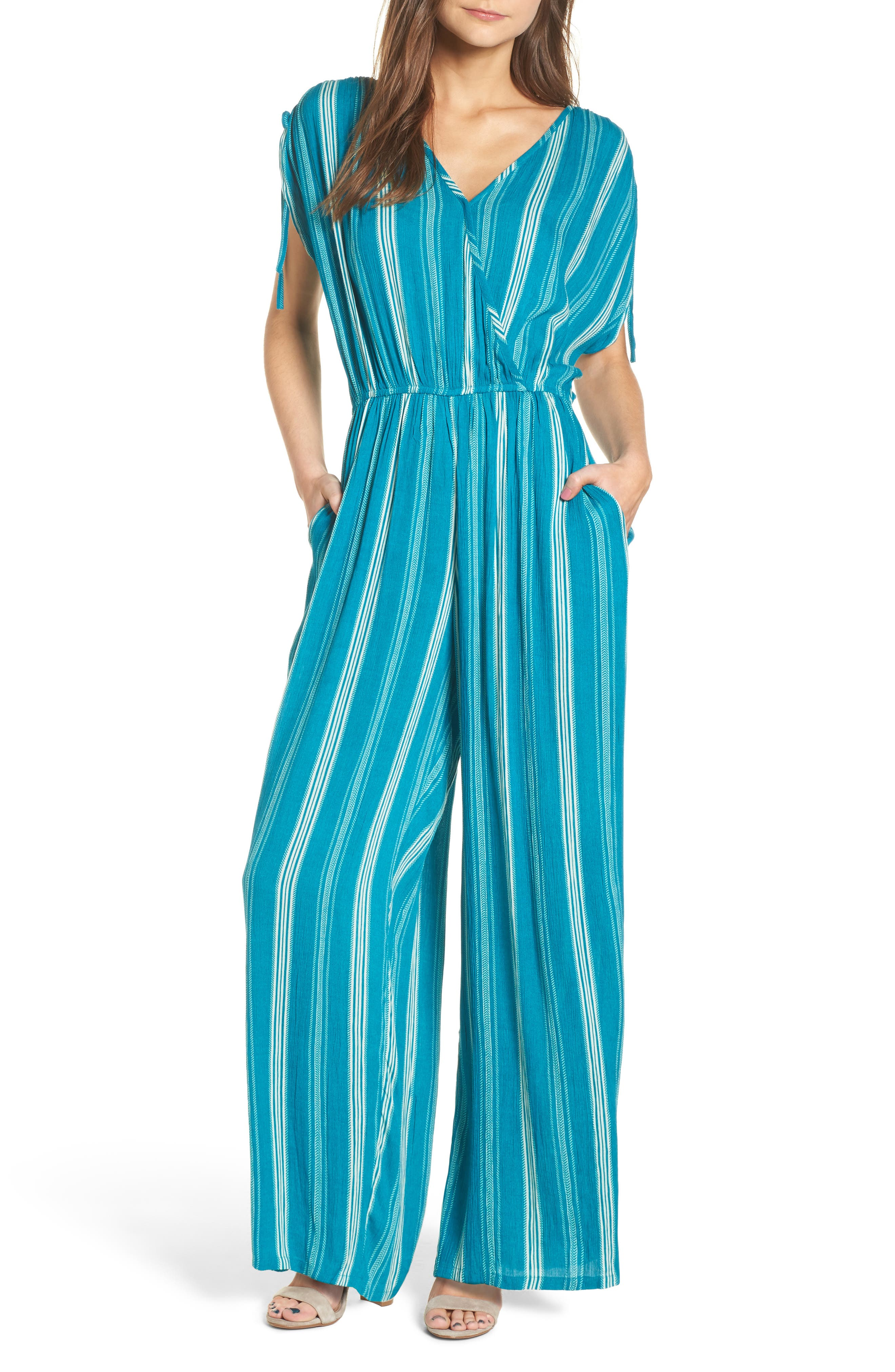 Main Image - Band of Gypsies Stripe Wide Leg Jumpsuit