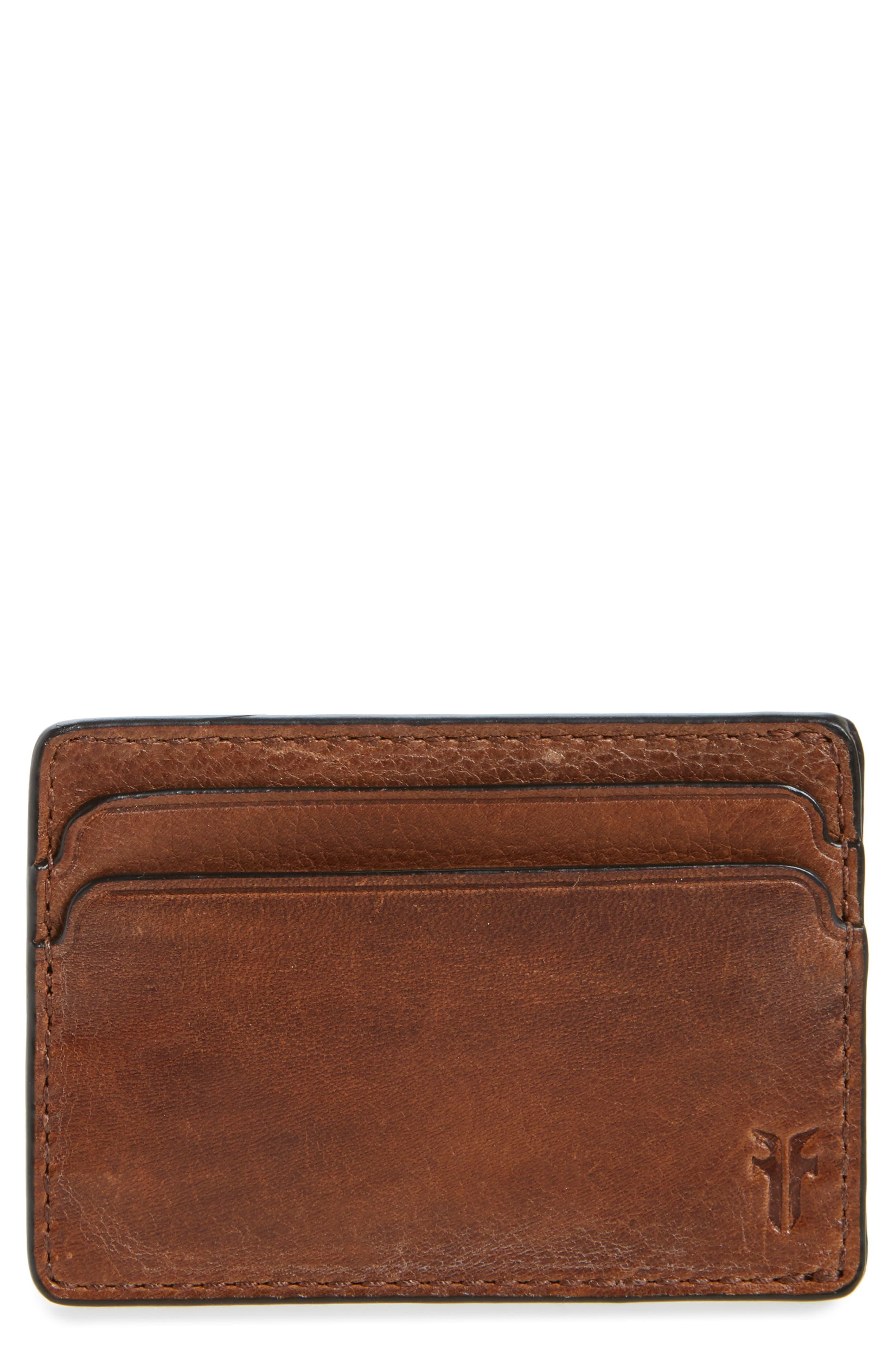 Oliver Leather Card Case,                             Main thumbnail 1, color,                             Cognac
