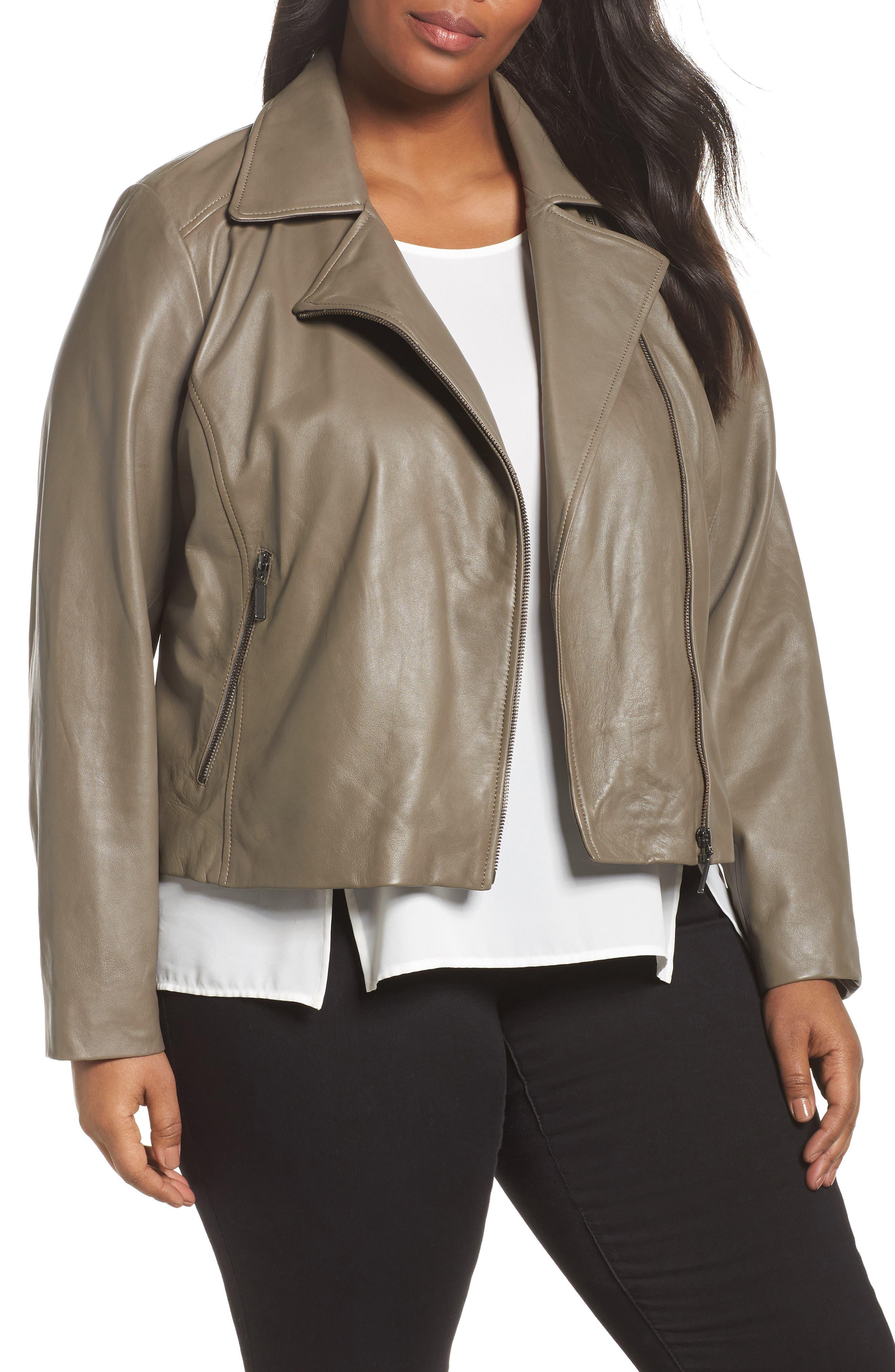Main Image - Halogen® Leather Moto Jacket (Plus Size)