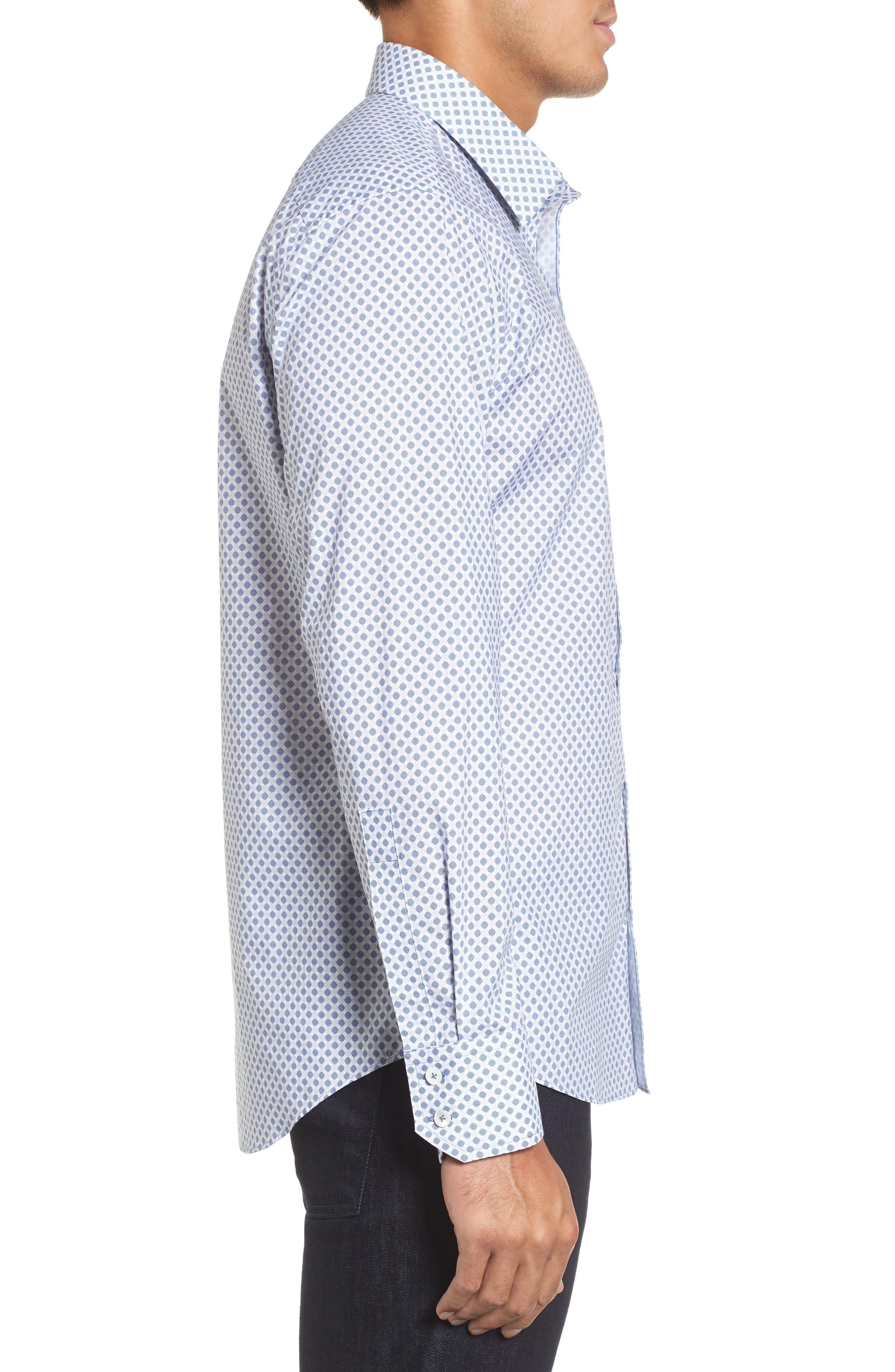Obi Slim Fit Circle Print Sport Shirt,                             Alternate thumbnail 3, color,                             Navy