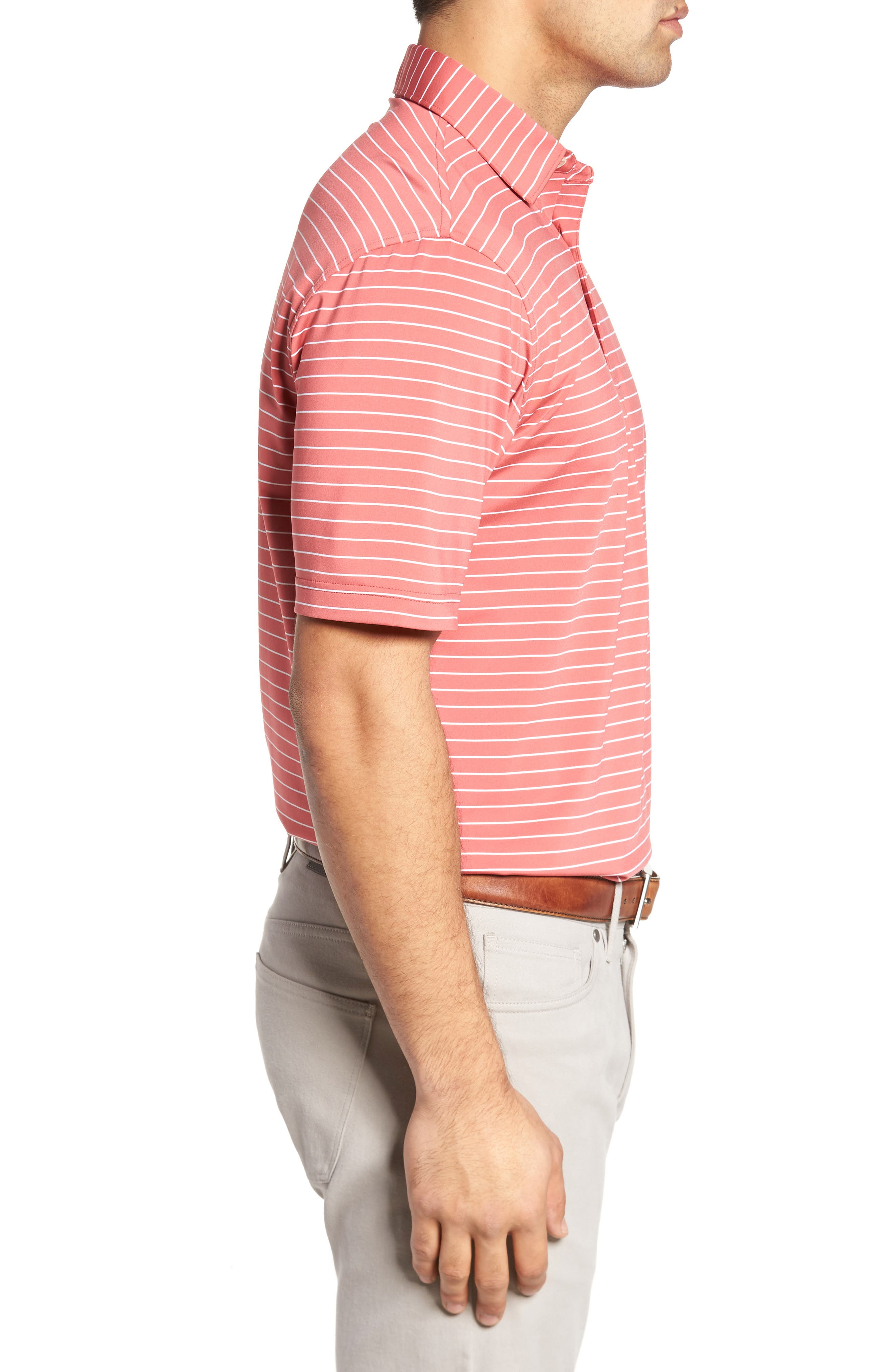 Halifax Pinstripe Stretch Jersey Polo,                             Alternate thumbnail 3, color,                             Cape Red