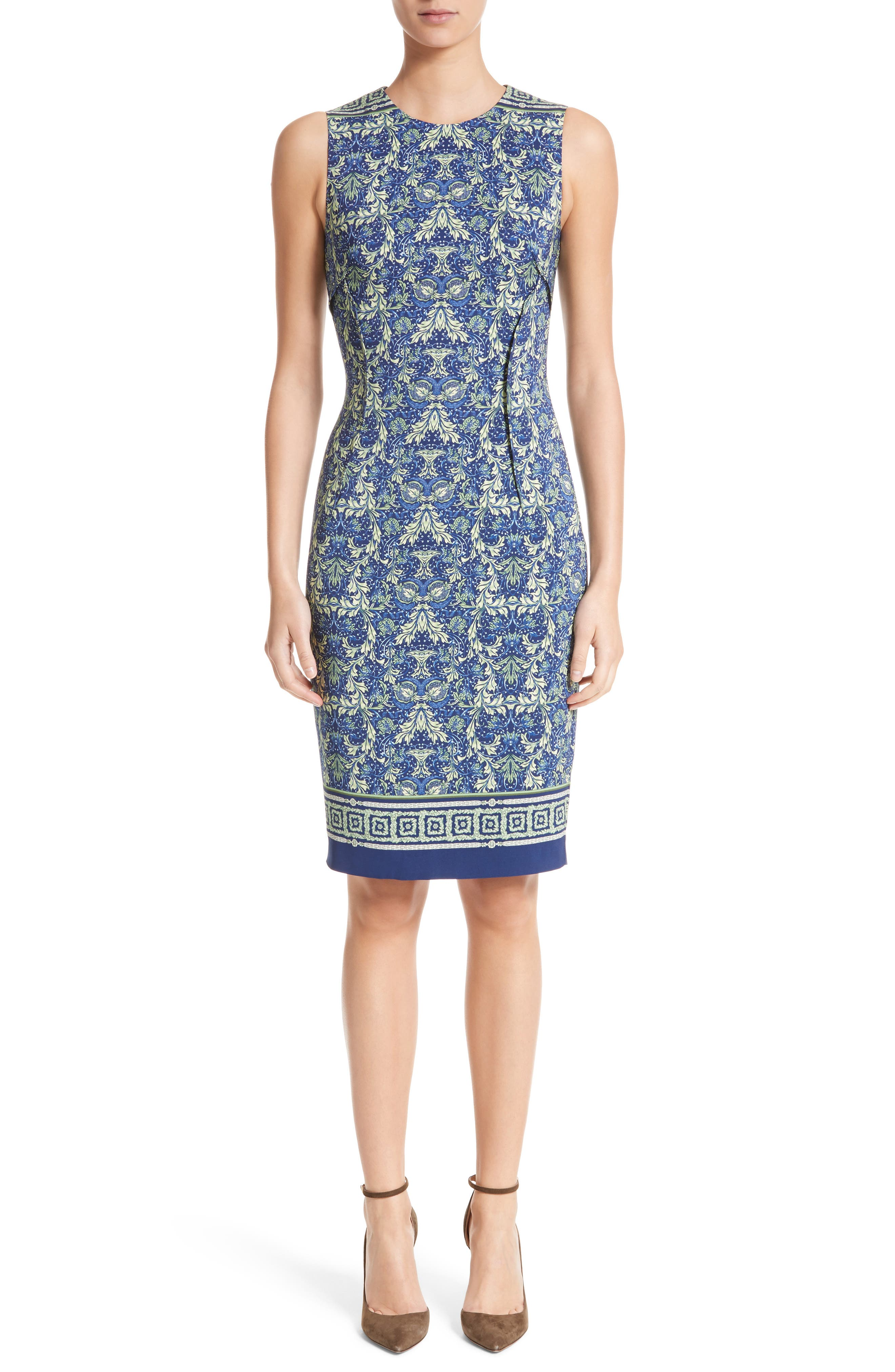 Acanthus Print Sheath Dress,                             Main thumbnail 1, color,                             Electric Blue Print