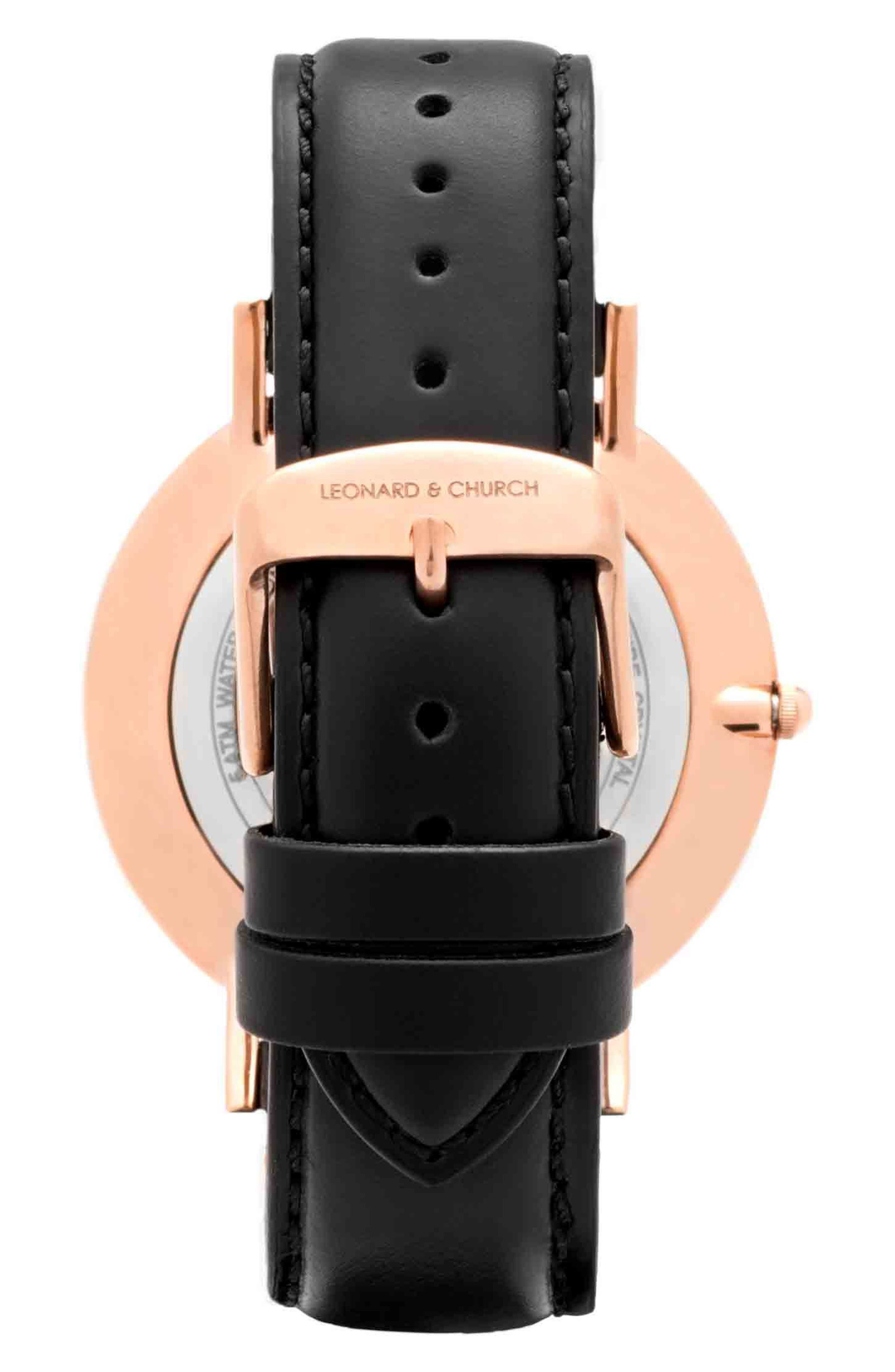 Leonard & Church Crosby Leather Strap Watch, 40mm,                             Alternate thumbnail 3, color,                             Black/ Rose Gold