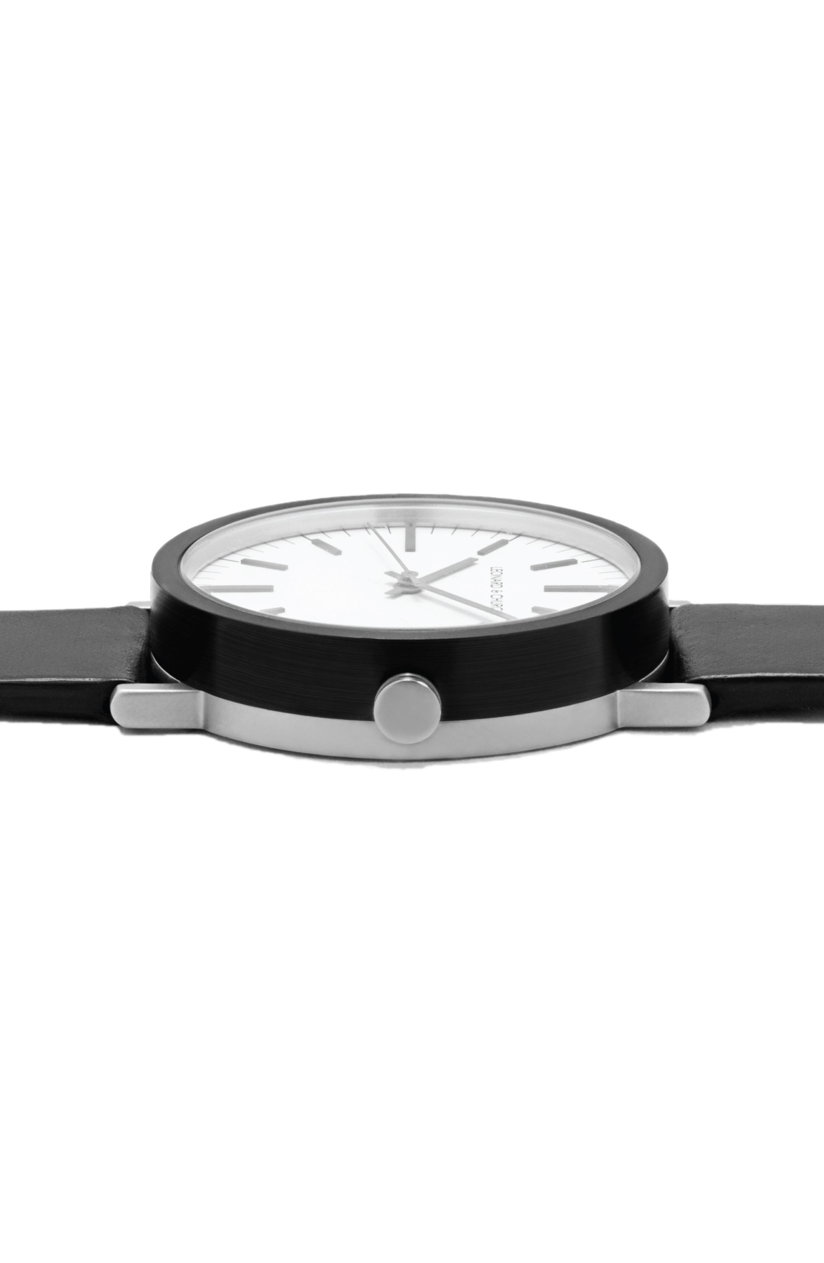 Leonard & Church Thompson Leather Strap Watch, 40mm,                             Alternate thumbnail 4, color,                             Black/ White/ Silver