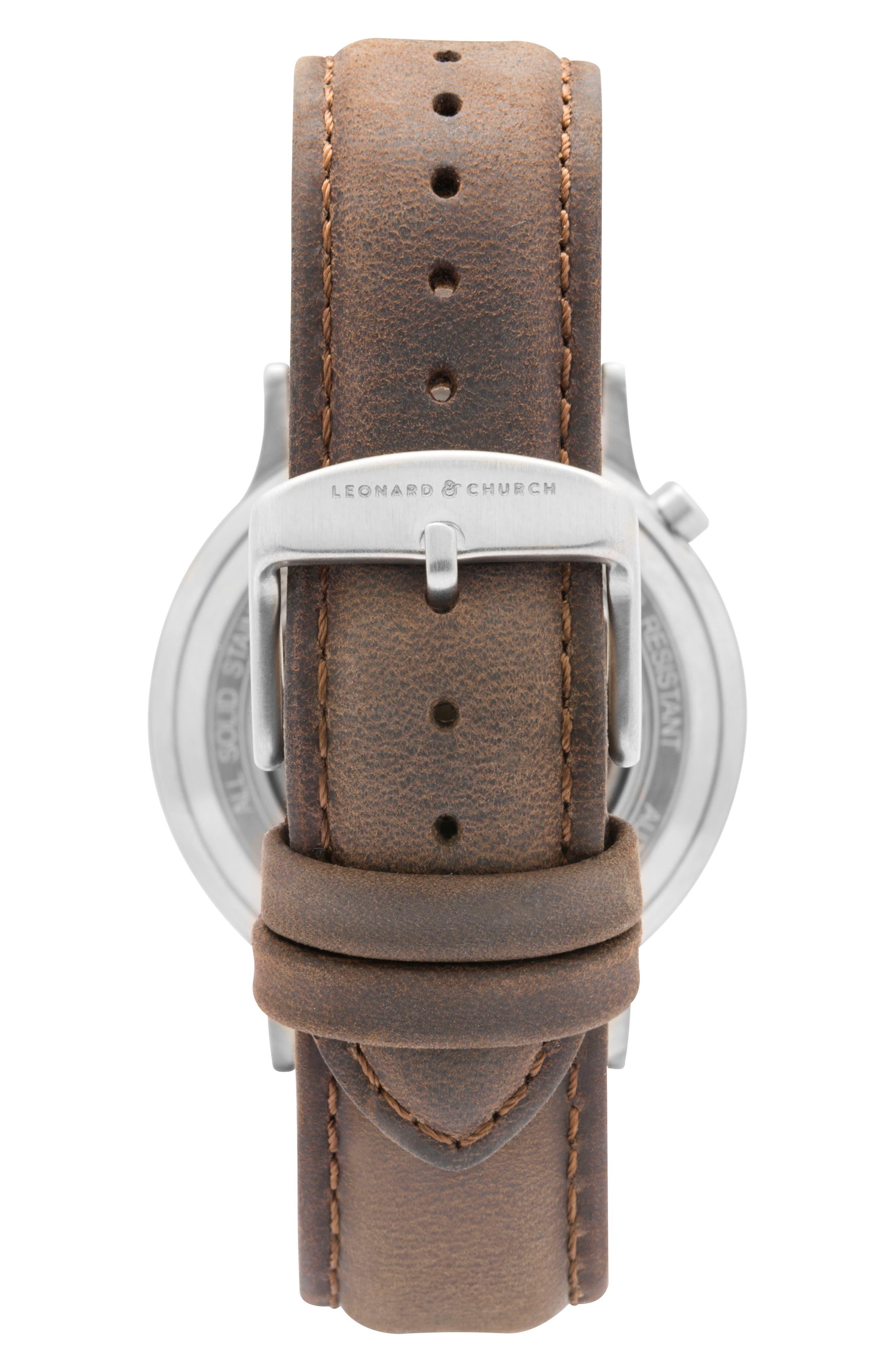 Leonard & Church Sullivan Automatic Suede Strap Watch, 39mm,                             Alternate thumbnail 6, color,                             Dark Brown/ Blue/ Silver
