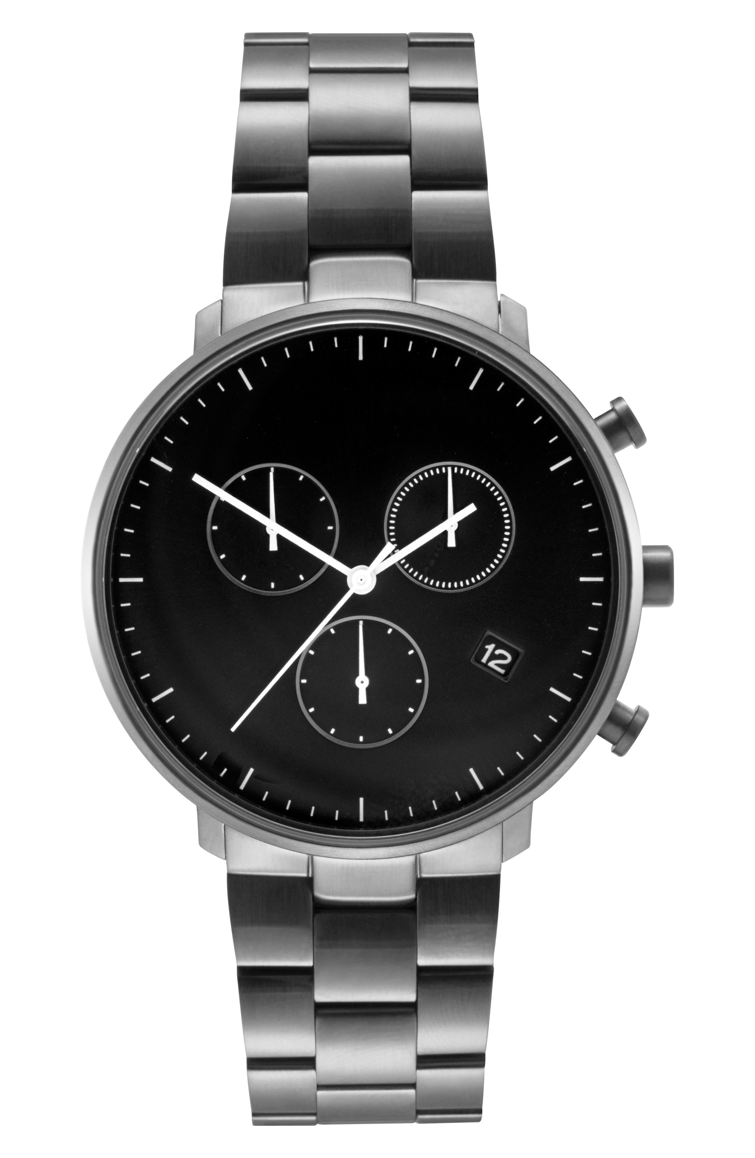 Leonard & Church Bleeker Chronograph Bracelet Watch, 40mm,                             Main thumbnail 1, color,                             Black
