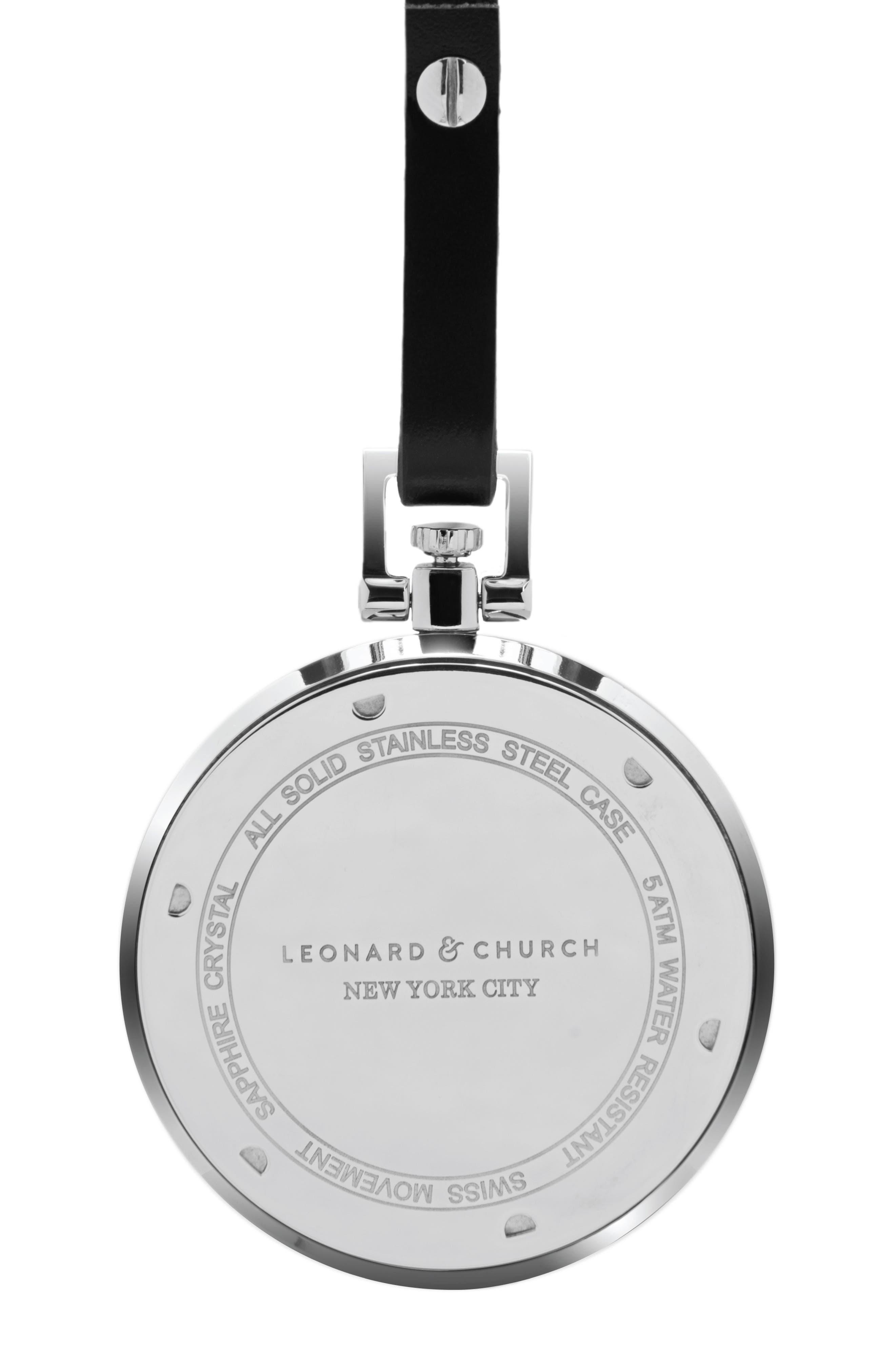Leonard & Church Prospect Leather Strap Pocket Watch, 48mm,                             Alternate thumbnail 3, color,                             Silver