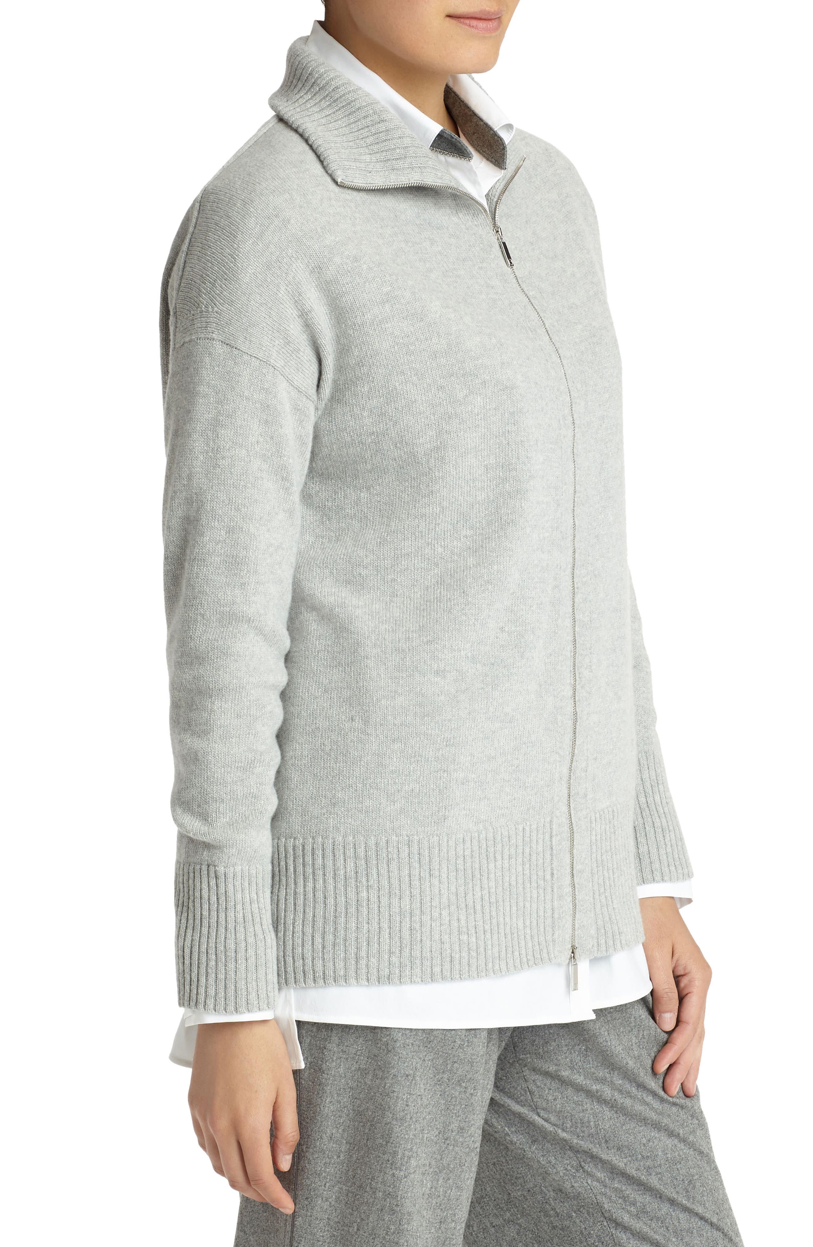 Alternate Image 3  - Lafayette 148 New York Luxe Merino Wool & Cashmere Sweater Jacket