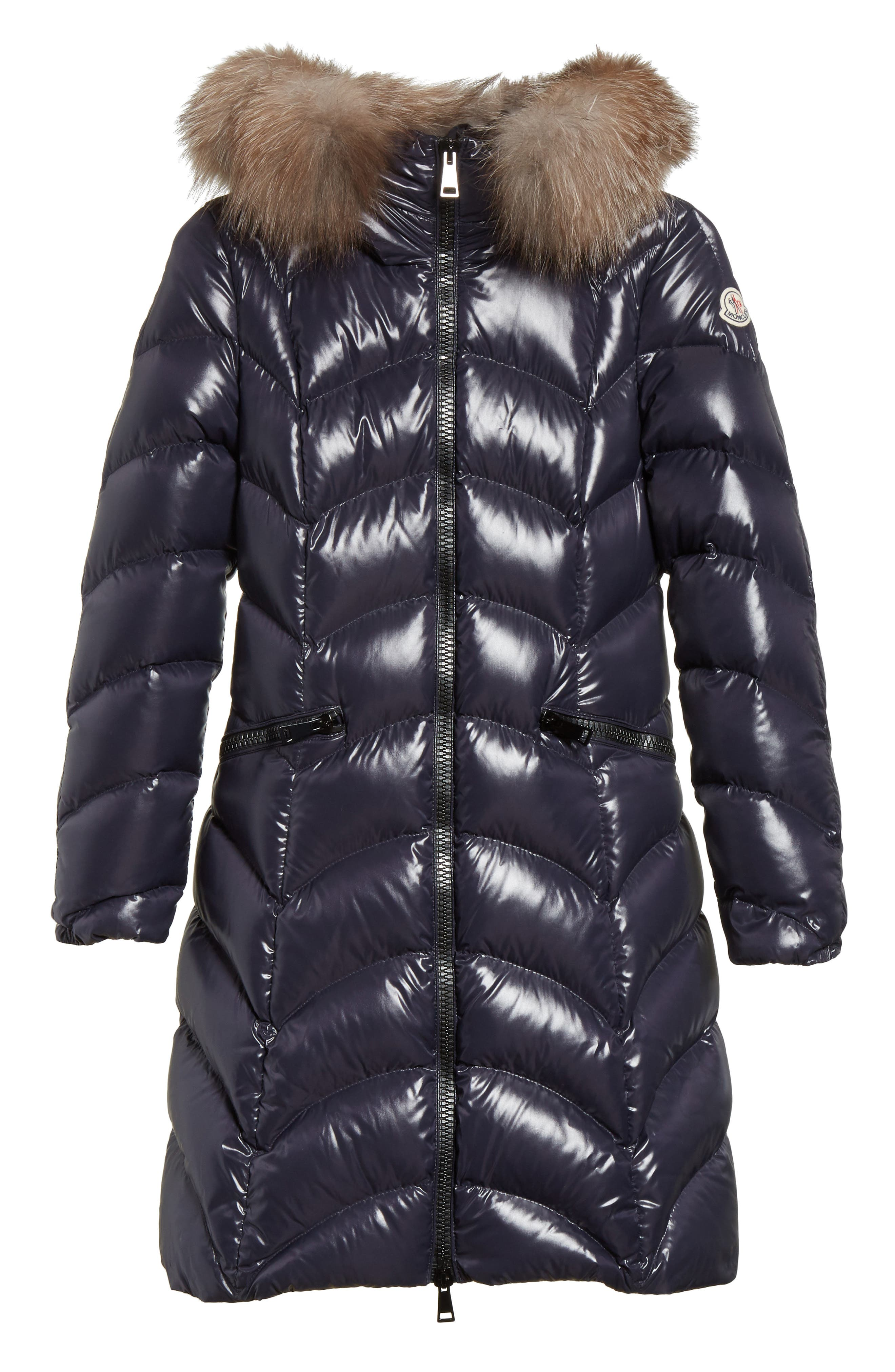 Alternate Image 1 Selected - Moncler Albizia Down Puffer Coat with Genuine Fox Fur Trim