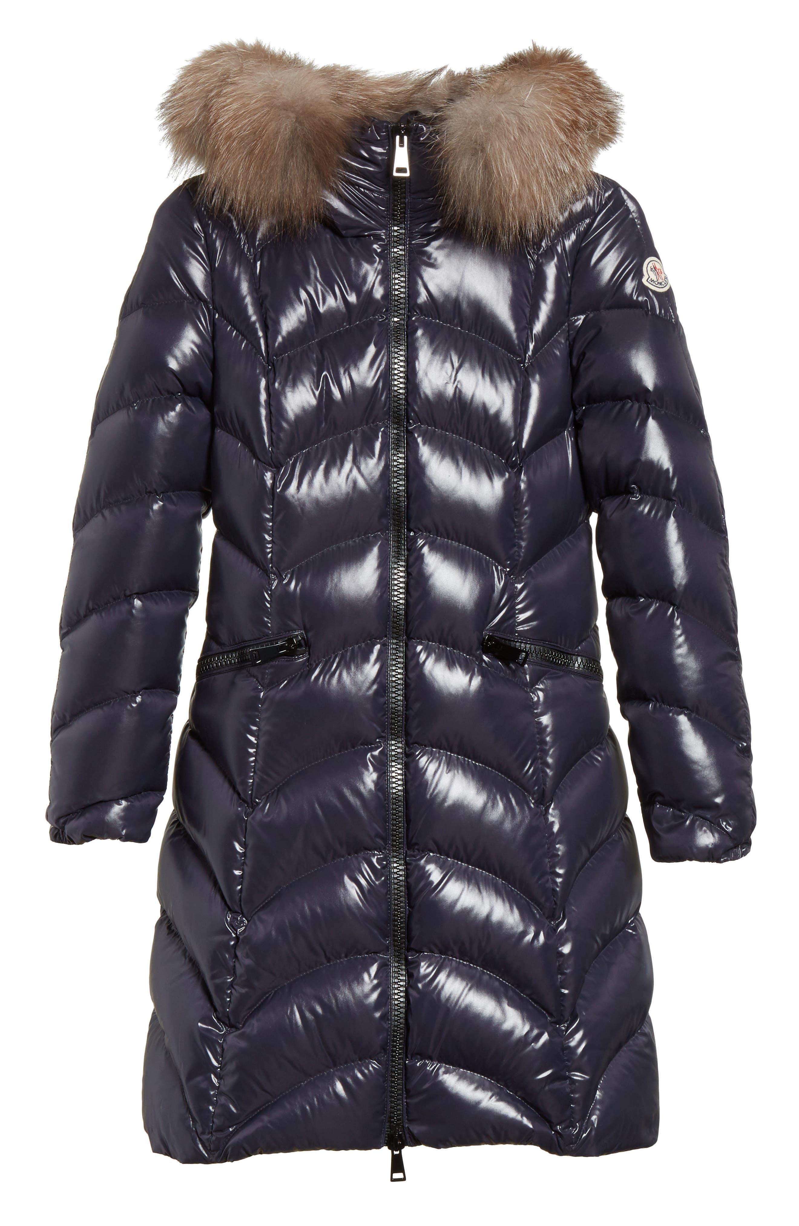 Albizia Down Puffer Coat with Genuine Fox Fur Trim,                         Main,                         color, Navy