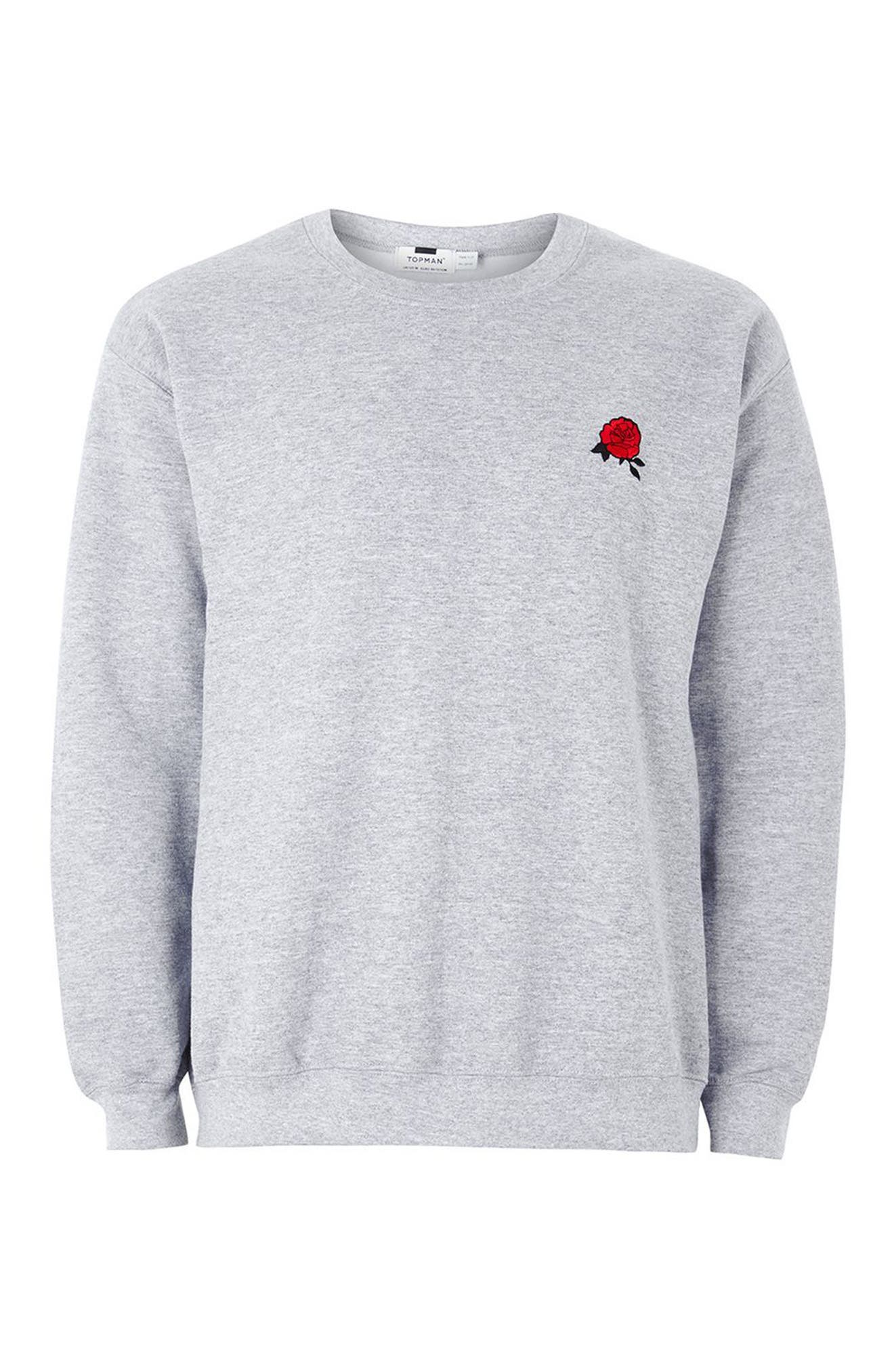 Rose Embroidered Sweatshirt,                             Alternate thumbnail 4, color,                             Light Grey