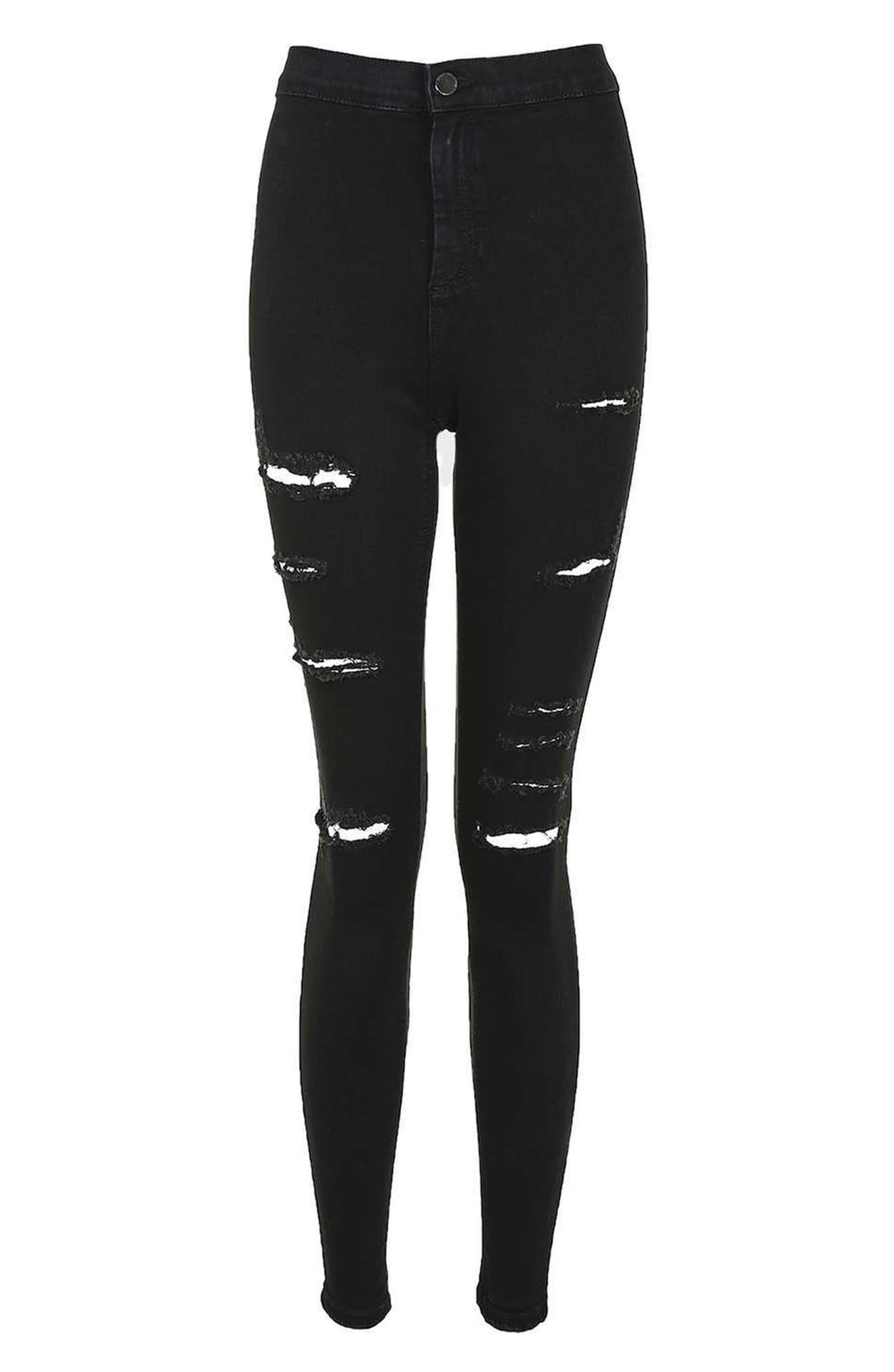 Joni Super Rip Crop Skinny Jeans,                             Alternate thumbnail 4, color,                             Black