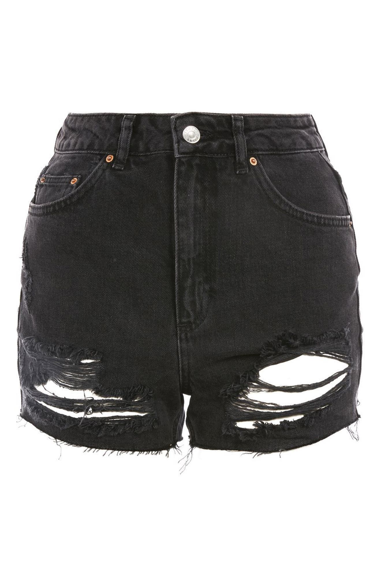 Ripped Mom Shorts,                             Alternate thumbnail 4, color,                             Washed Black