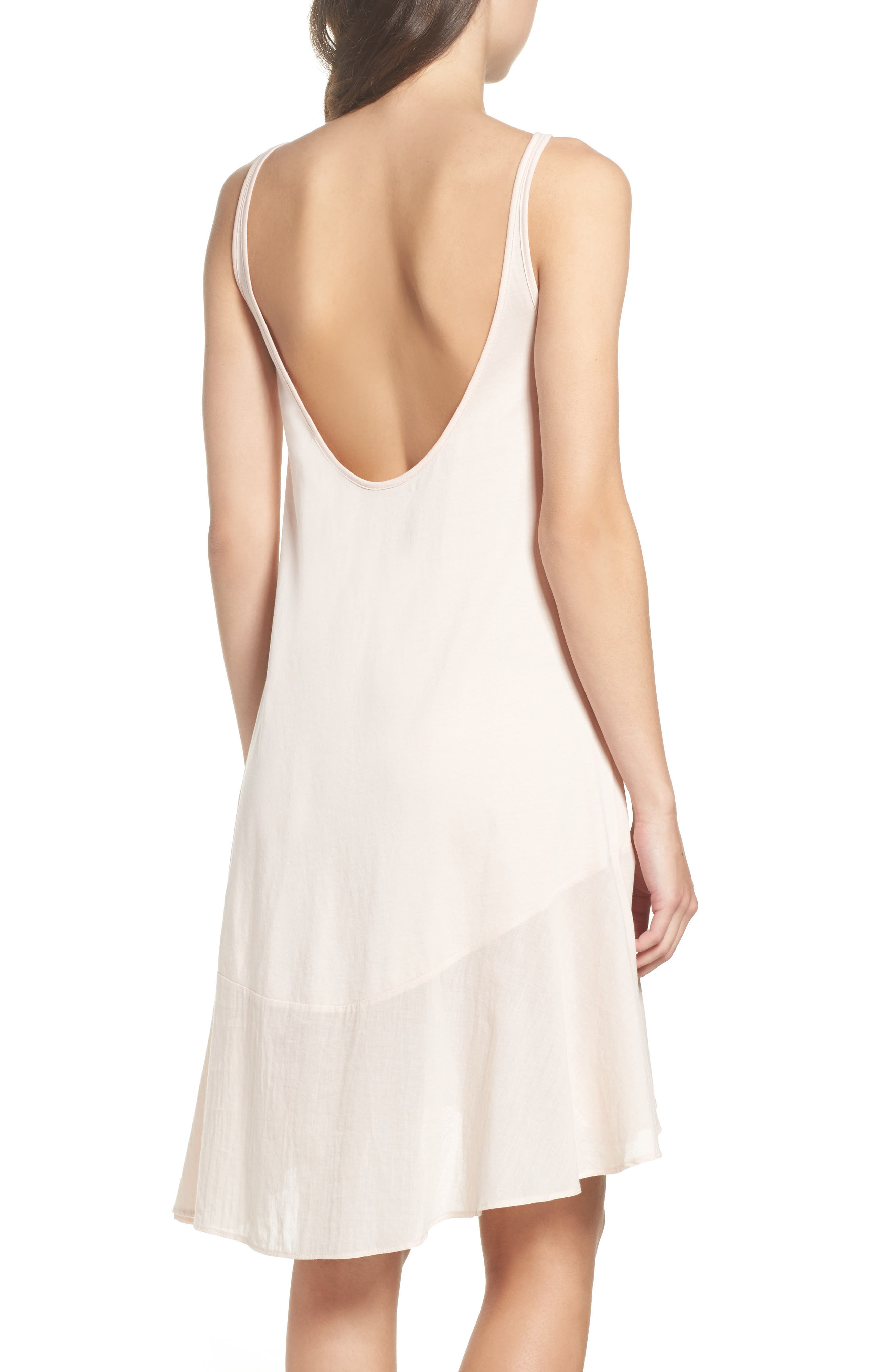 Pima Cotton High/Low Nightgown,                             Alternate thumbnail 2, color,                             Powder Pink