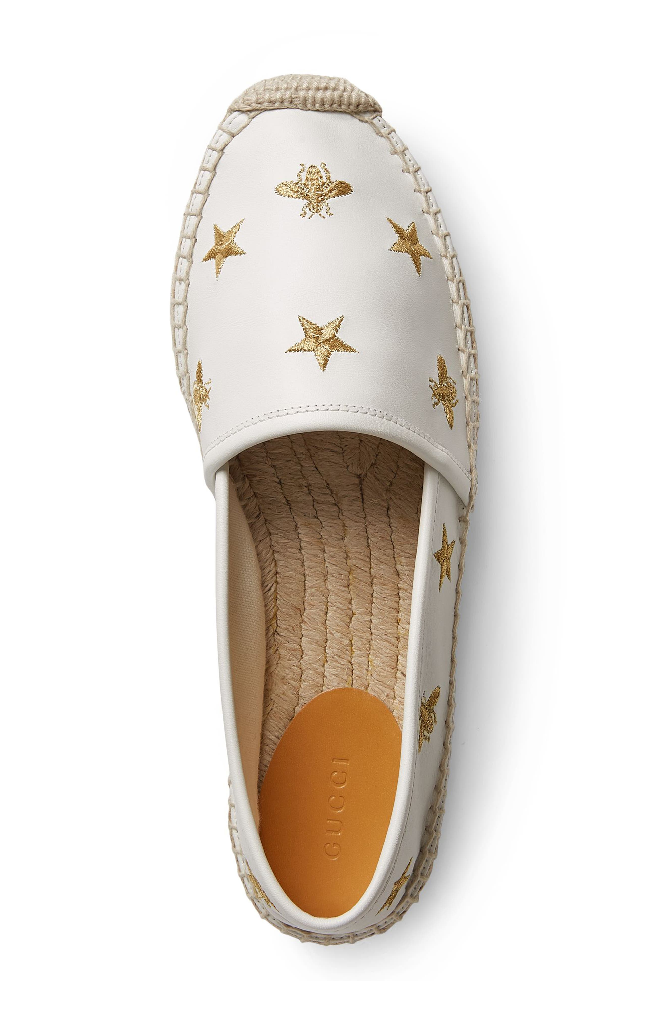 Pilar Bee Embroidery Espadrille,                             Alternate thumbnail 3, color,                             White