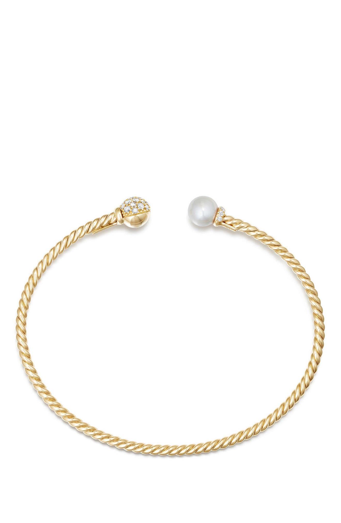 Solari Bead & Pearl Bracelet with Diamonds in 18K Gold,                             Alternate thumbnail 2, color,                             Yellow Gold/ Diamond/ Pearl