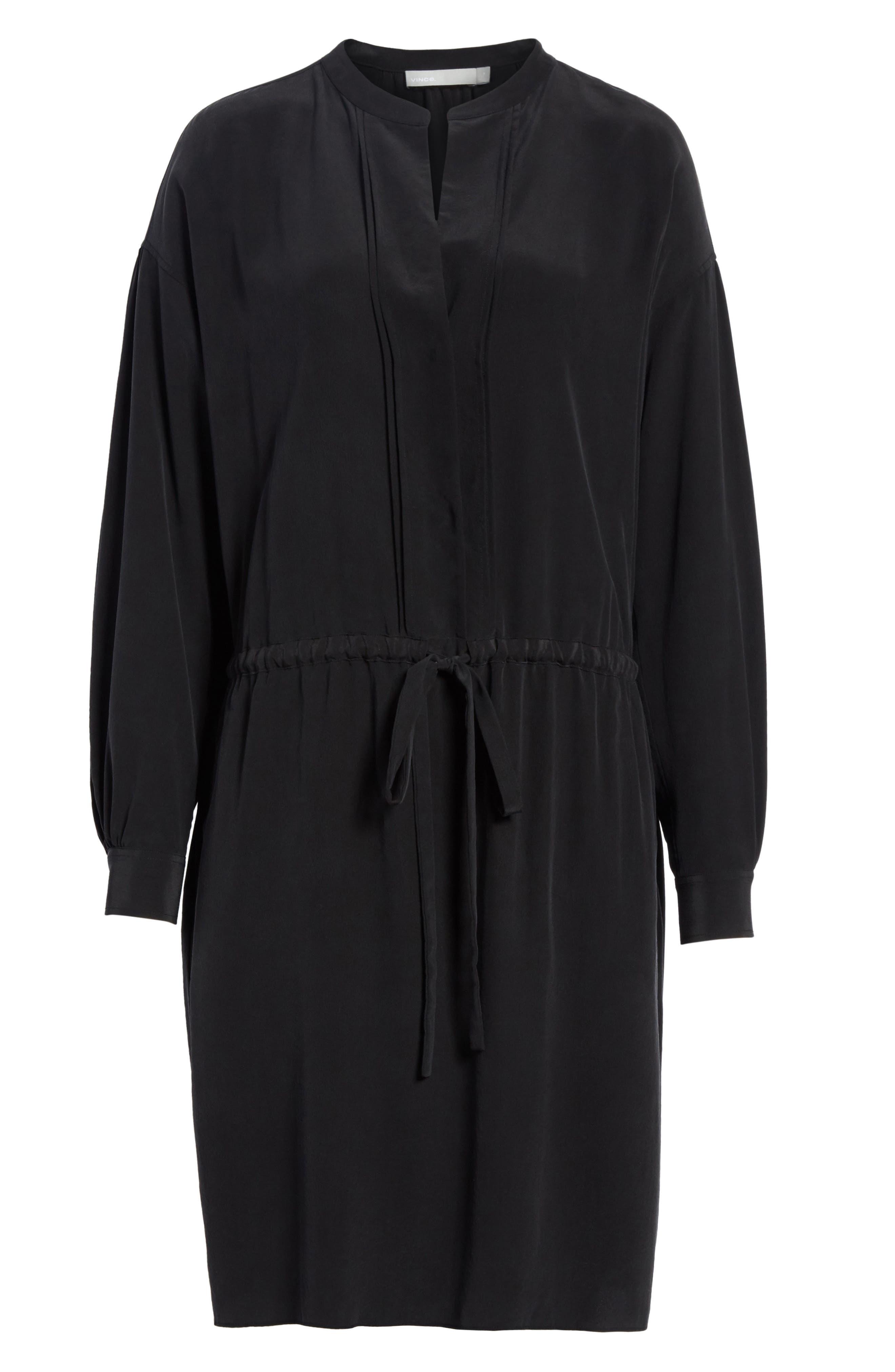 Shirred Sleeve Silk Dress,                             Alternate thumbnail 6, color,                             Black