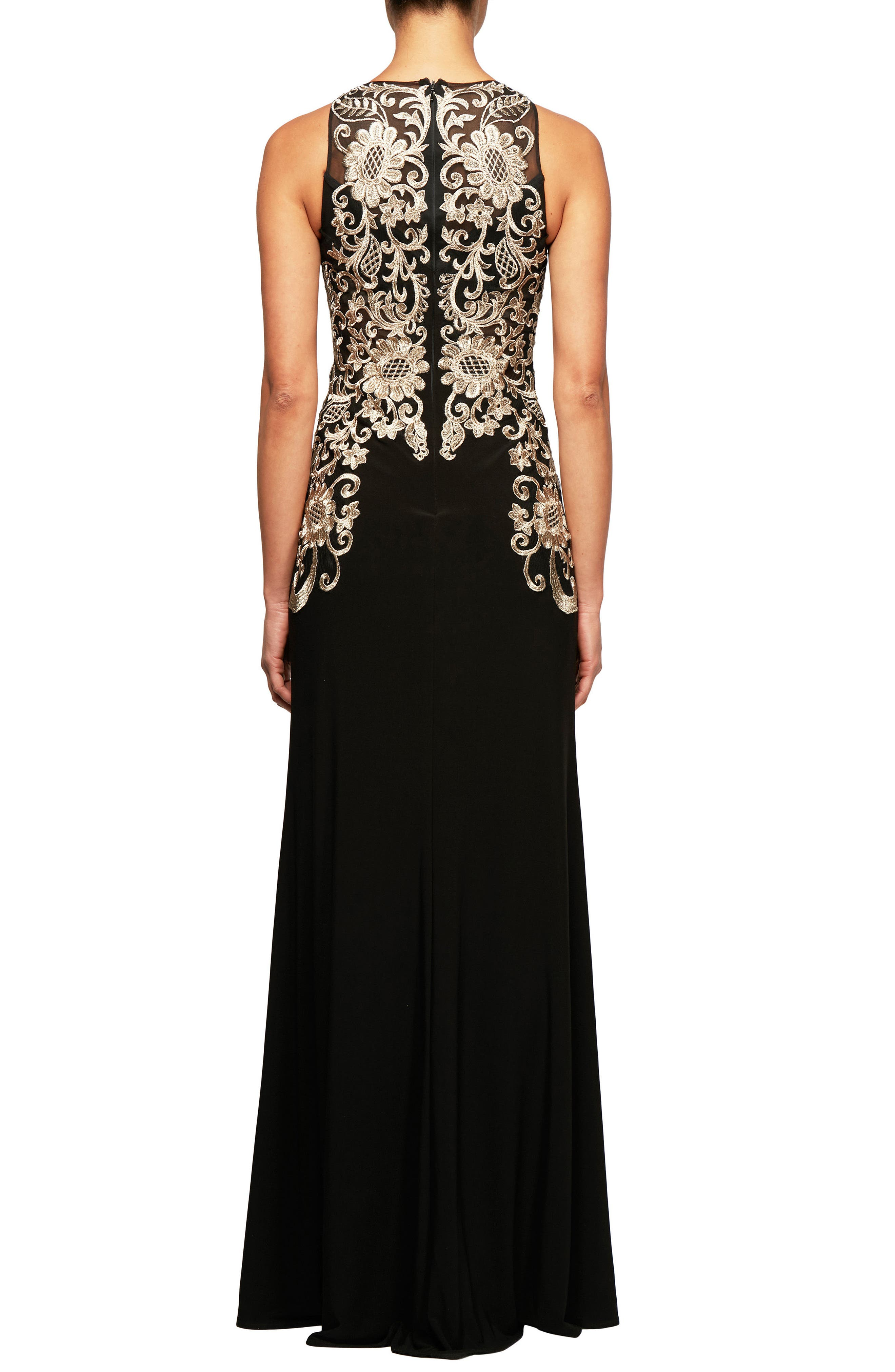 Embroidered Sleeveless Gown,                             Alternate thumbnail 2, color,                             Black Gold