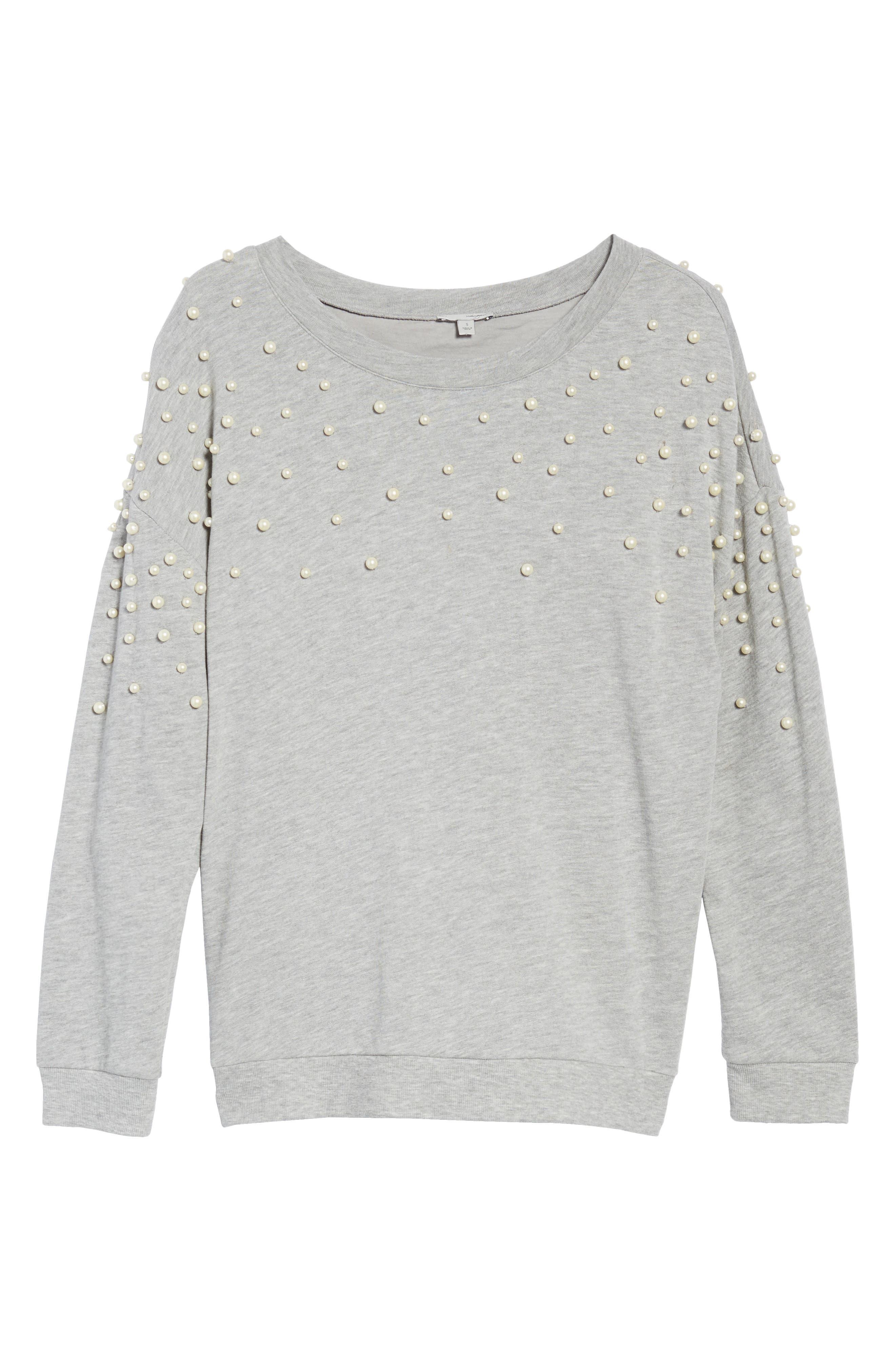 Alternate Image 6  - Halogen® Beaded Sweatshirt (Regular & Petite)
